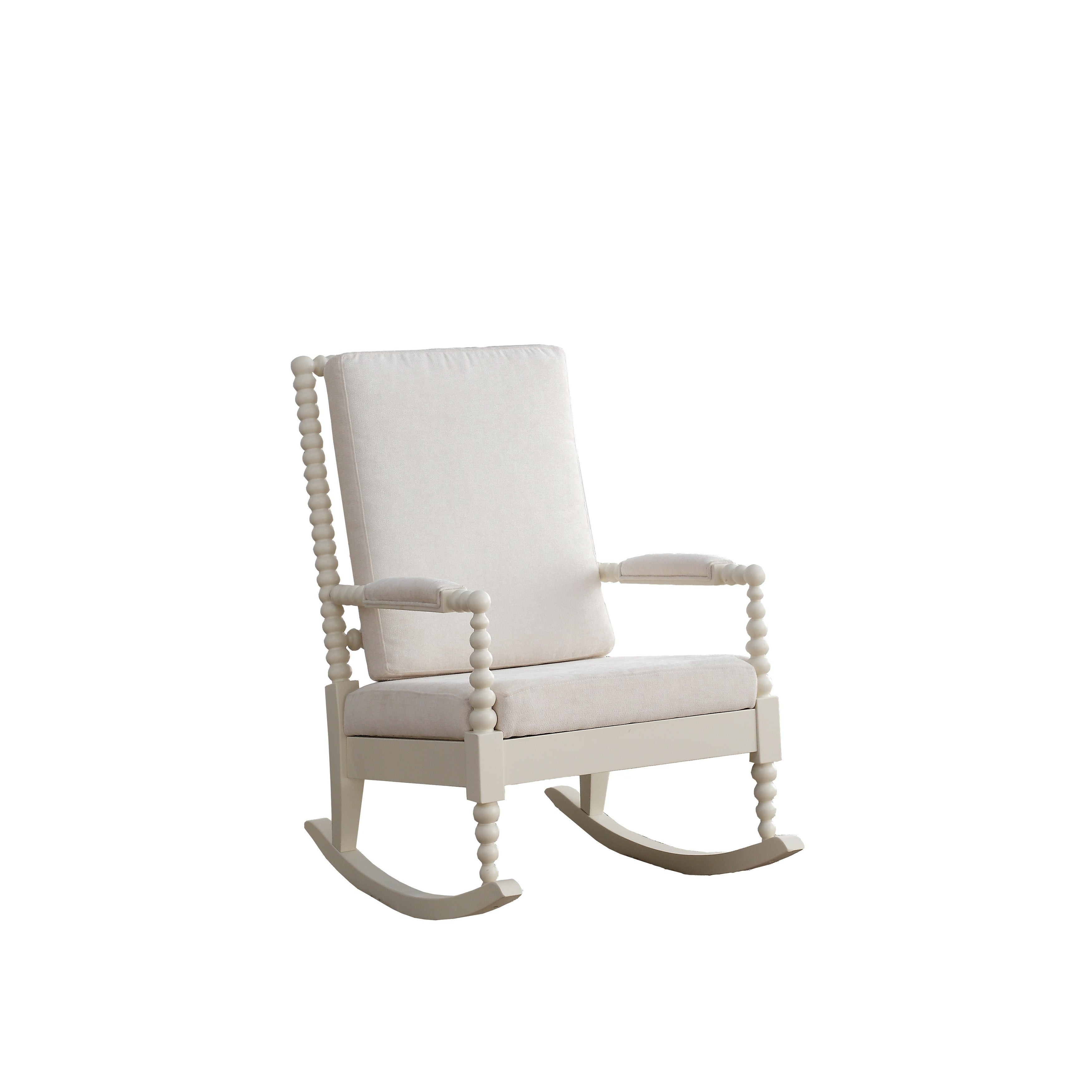 Acme Tristin Rocking Chair In Cream Fabric And White Throughout Rocking Chairs In Cream Fabric And White (#2 of 20)