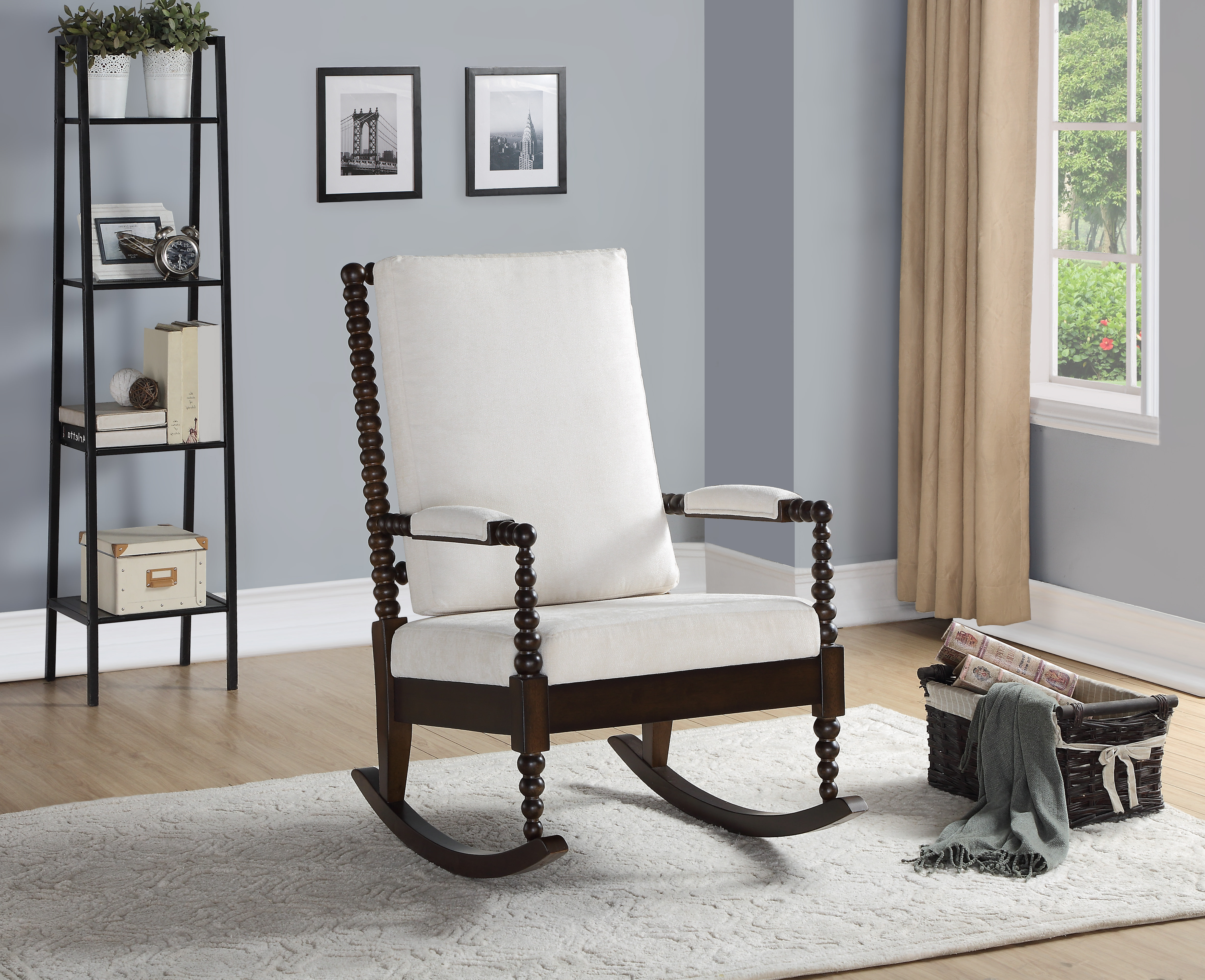 Acme Tristin Rocking Chair In Cream Fabric, Multiple Colors Regarding Rocking Chairs In Cream Fabric And White (#3 of 20)