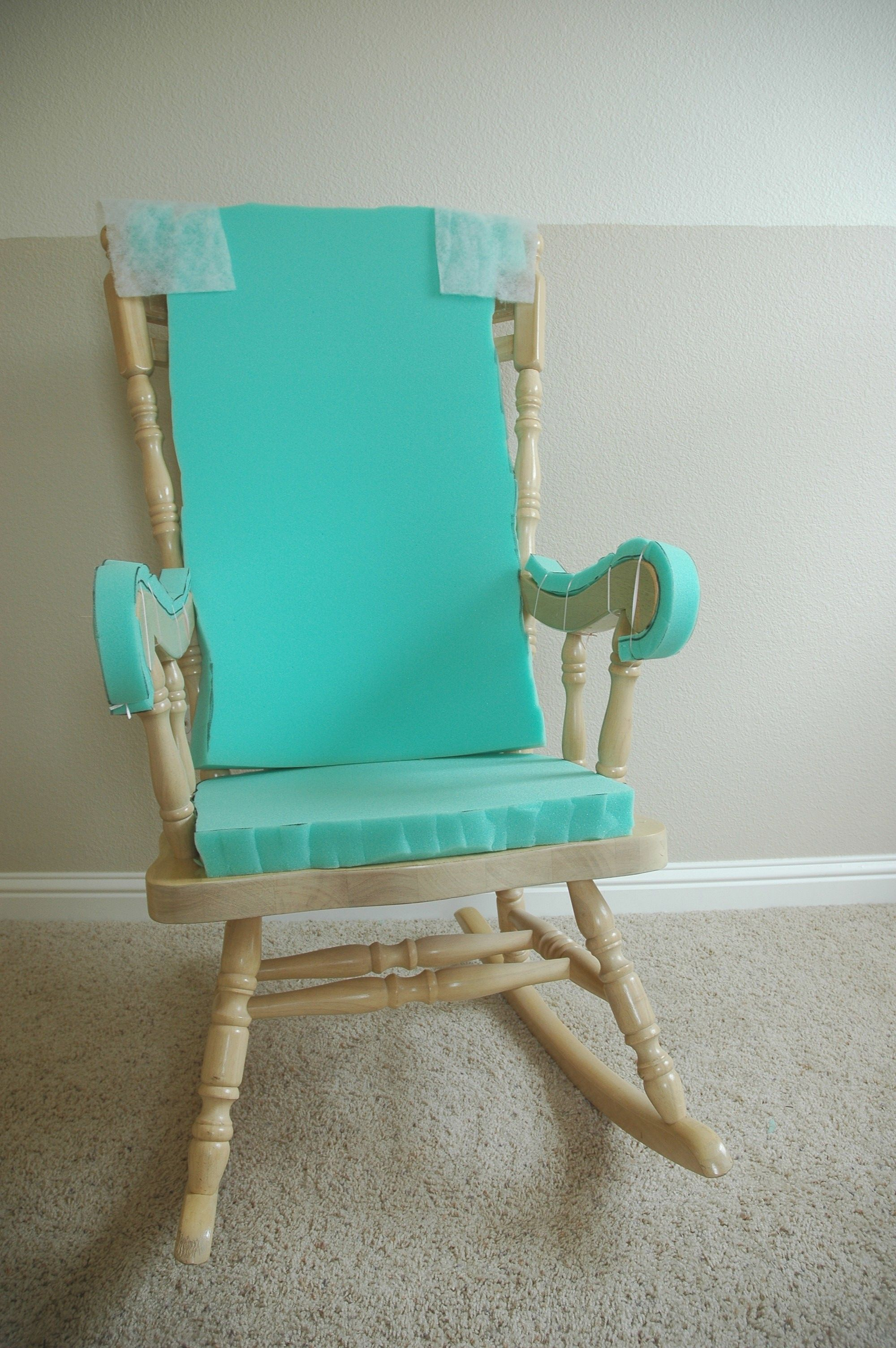 Adding Comfort To A Wooden Rocking Chair – Part One | Sewing In Wooden Rocking Chairs With Fabric Upholstered Cushions, White (View 1 of 20)