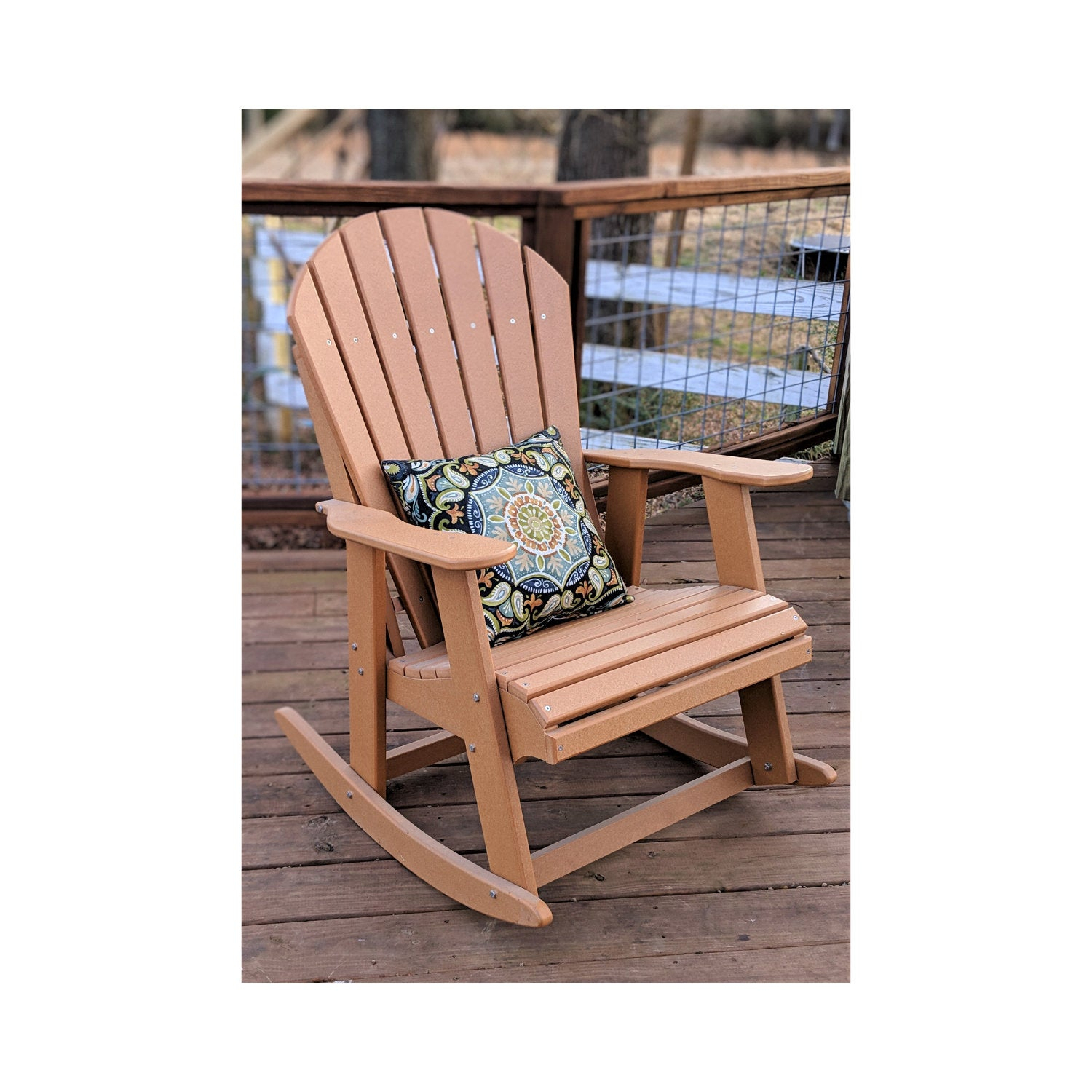 Adirondack Rocking Chair Made From Poly Lumber With Poly And Bark Blue Rocking Chairs Lounge Chairs (#2 of 20)