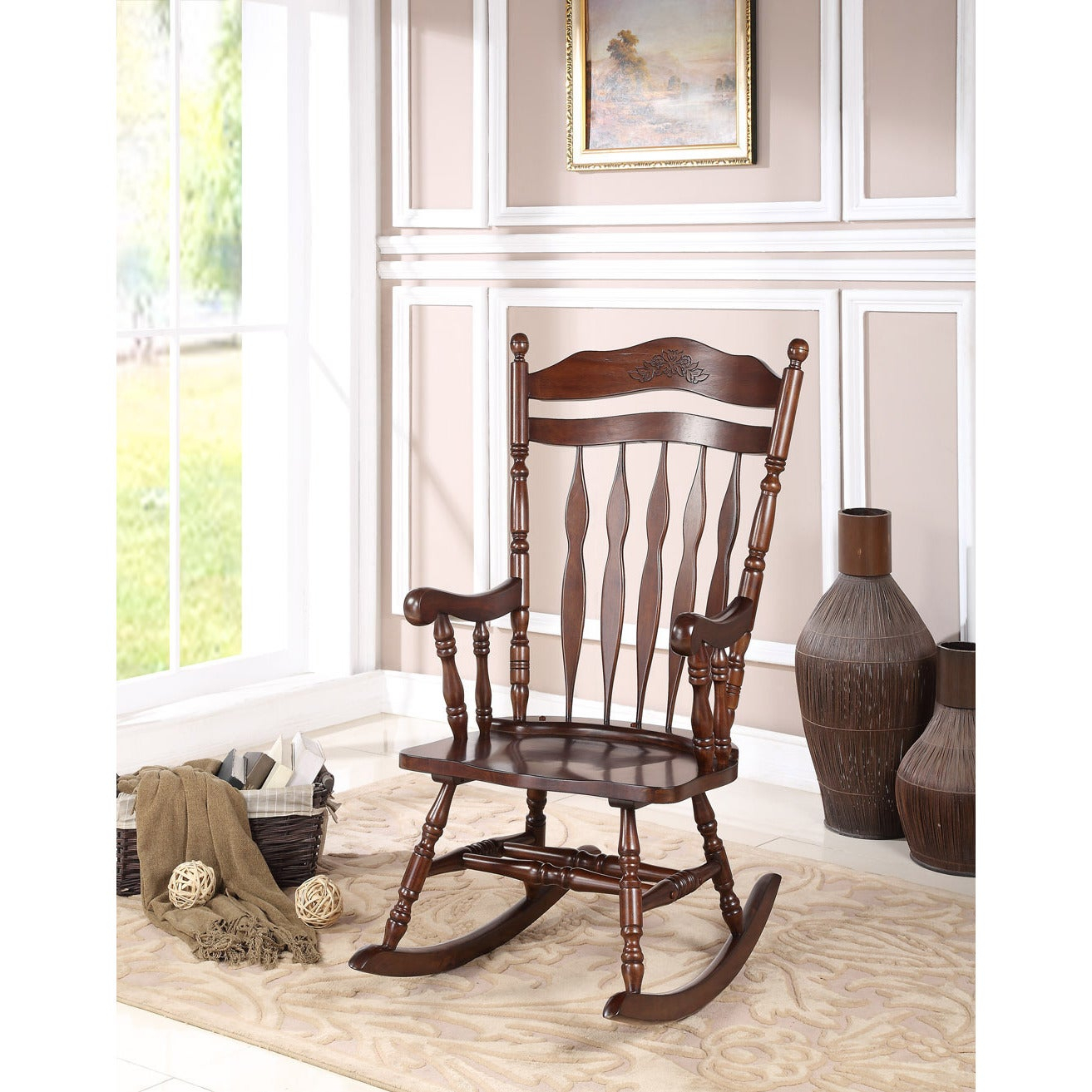 Albany Dark Walnut Rocking Chair For Madrone Windsor Country Style Rocking Chairs (#1 of 20)