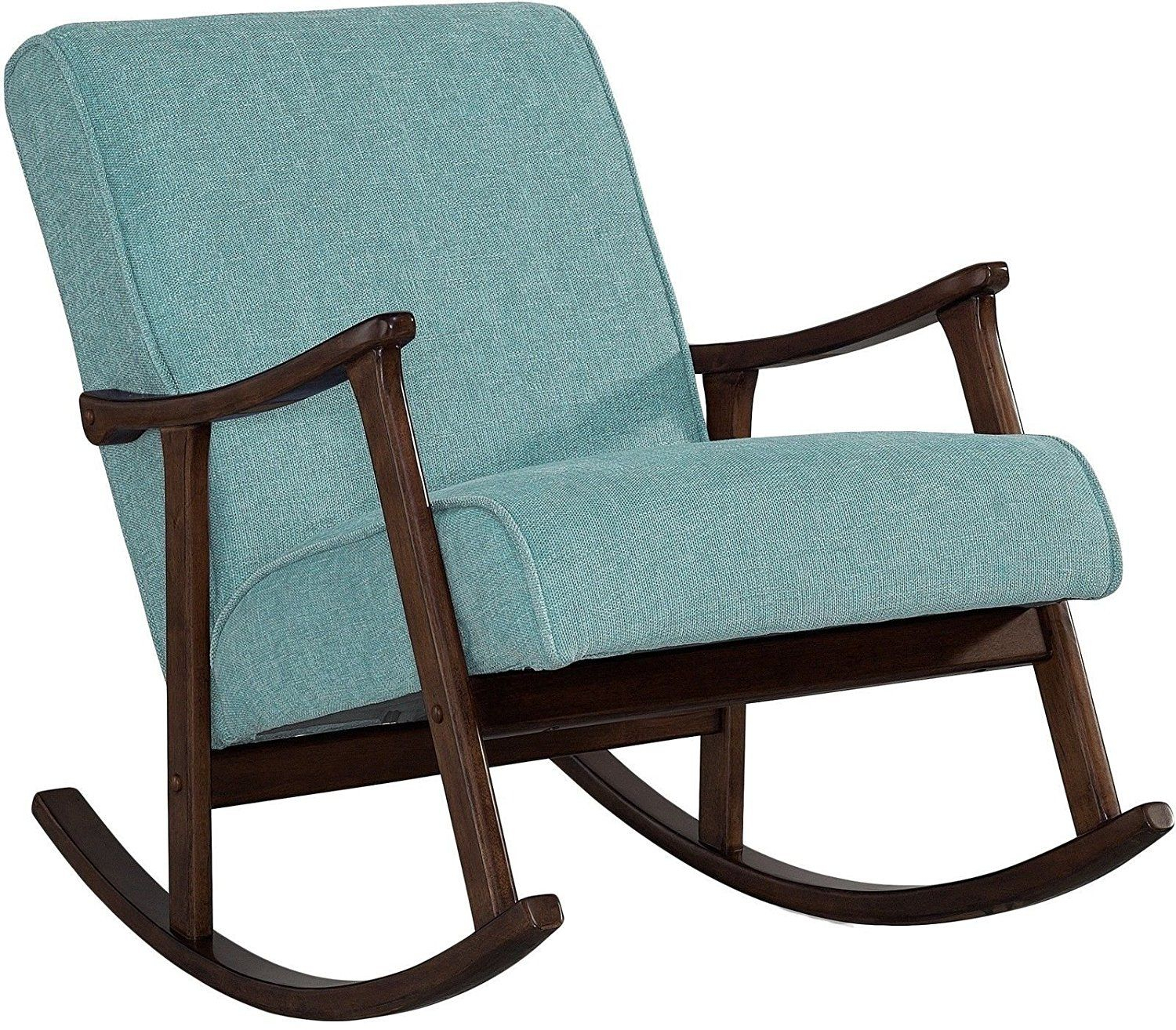 Amazonsmile: Modern Rocking Chair Nursery Baby Retro Aqua Within Granite Grey Fabric Mid Century Wooden Rocking Chairs (#1 of 20)