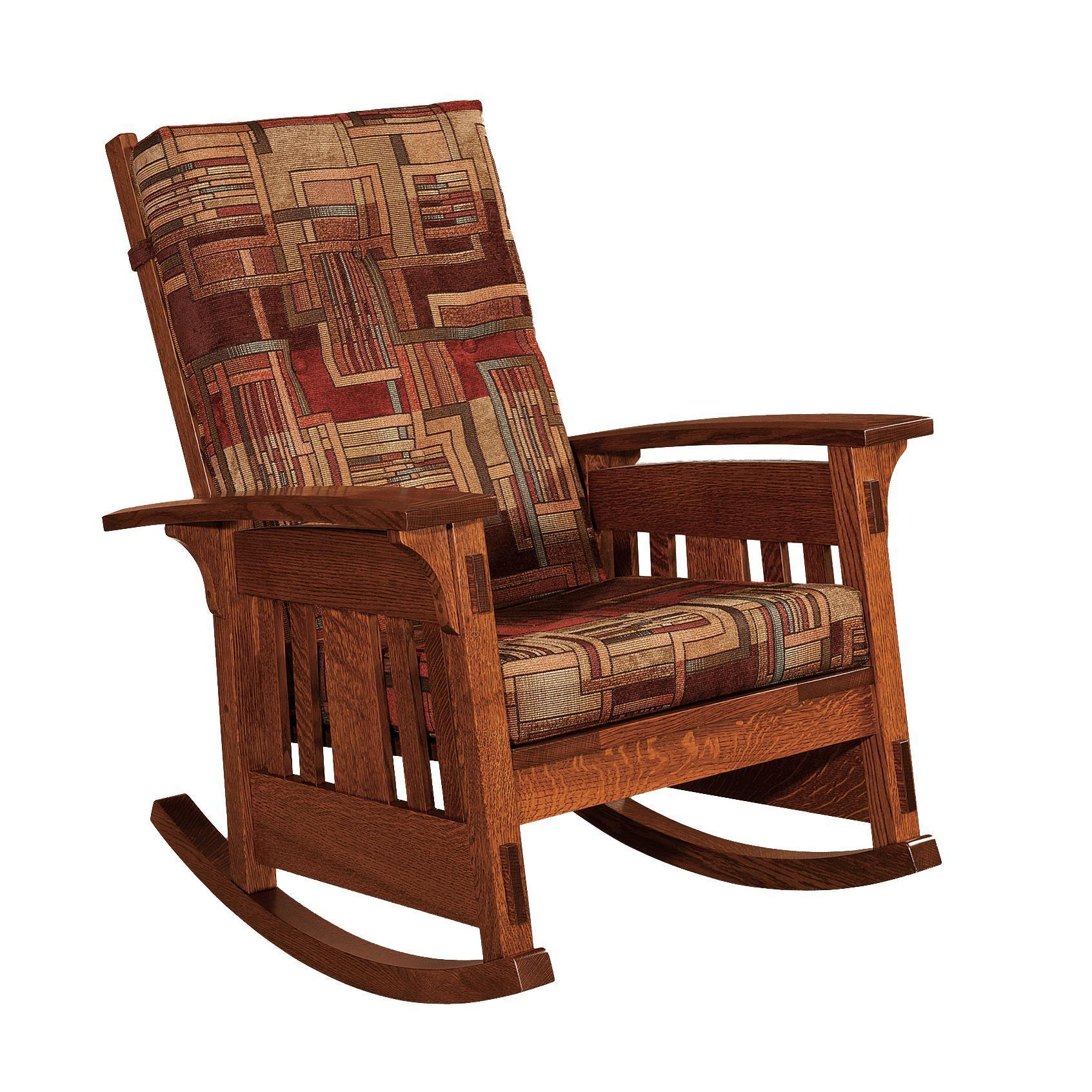 Amish Mccoy Mission Upholstered Rocking Chair Throughout Padded Rocking Chairs (#1 of 20)