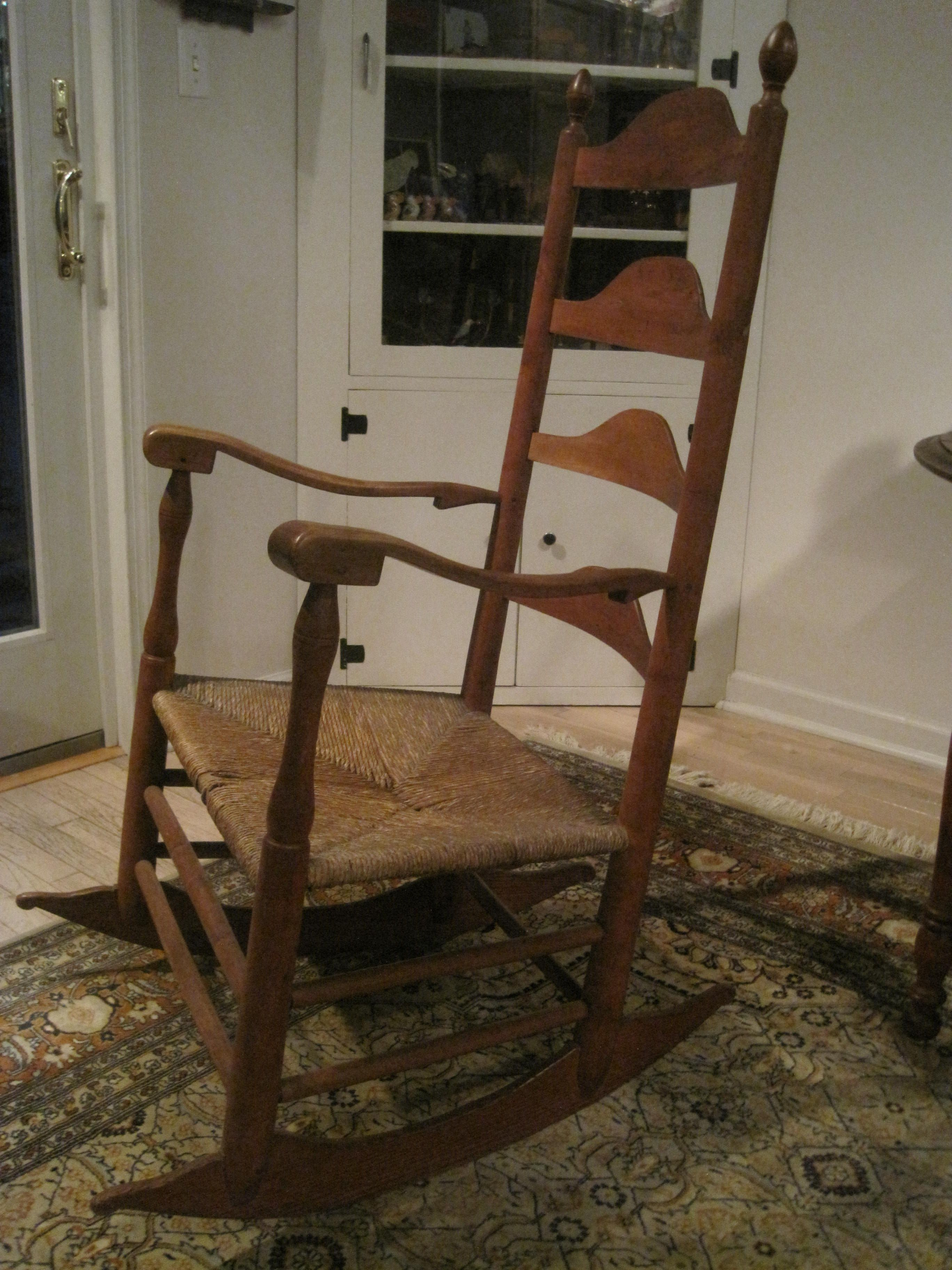 Antique 1800s New England Shaker Ladder Back Elders Rocking Intended For Antique Transitional Warm Oak Rocking Chairs (View 13 of 20)