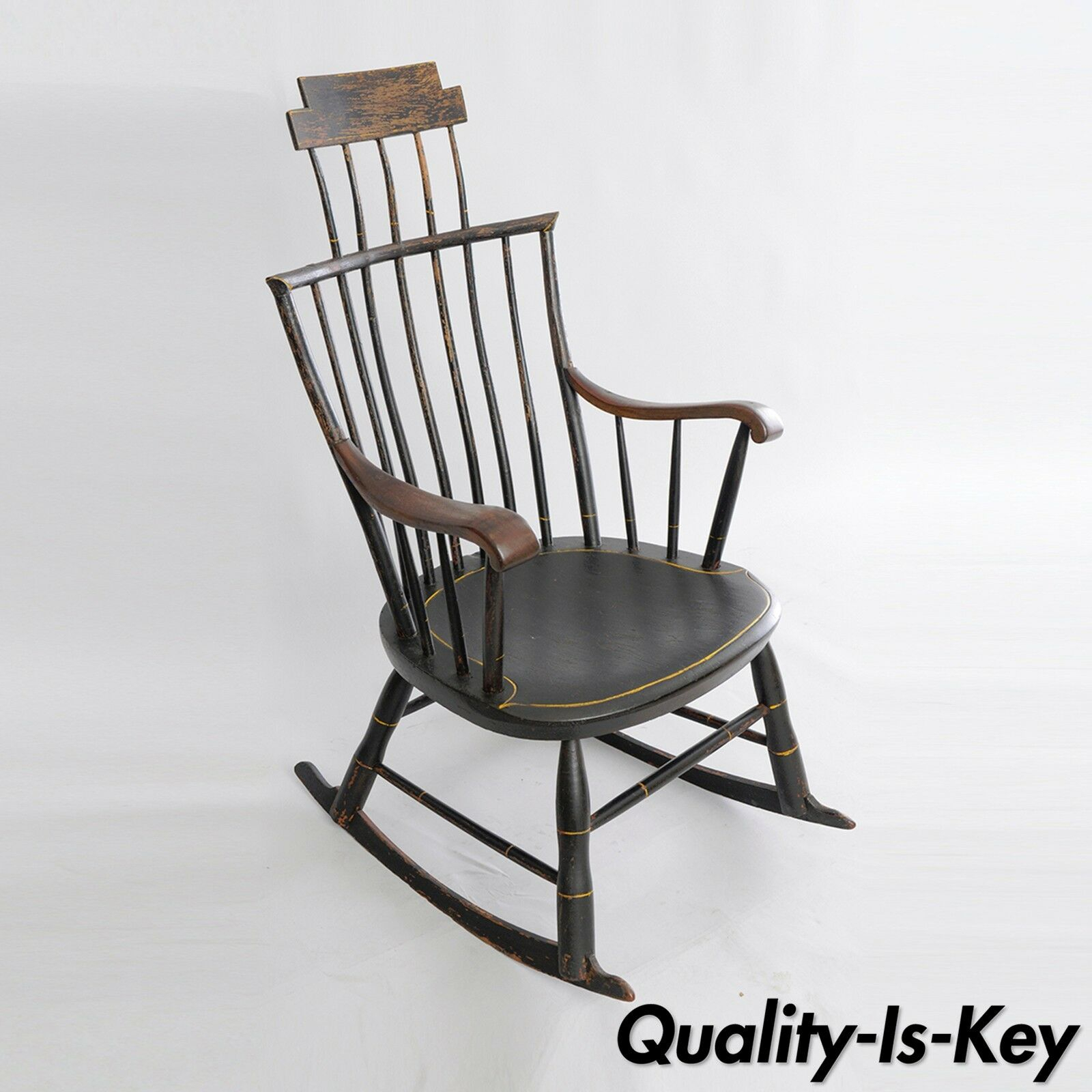 Antique American Primitive Black Painted Wood Windsor Rocking Chair Colonial With Colonial Antique Black Rocking Chairs (#3 of 20)