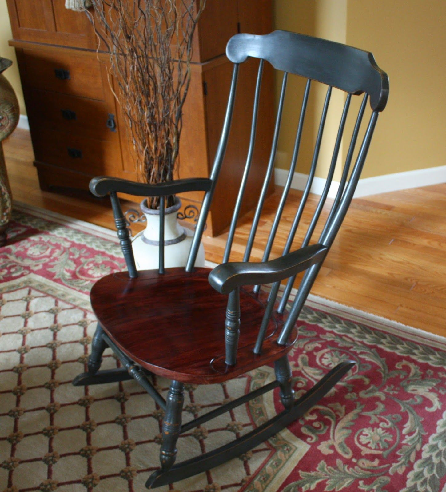 Antique Colonial Rocking Chair | Hand Painted Furniture Regarding Colonial Antique Black Rocking Chairs (#4 of 20)