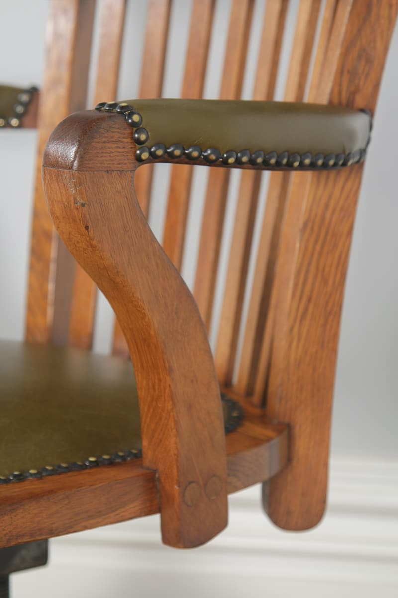 Antique Edwardian Oak & Leather Revolving Office Desk Arm Throughout Liverpool Classic Style Rocking Chairs In Antique Oak Finish (#3 of 20)