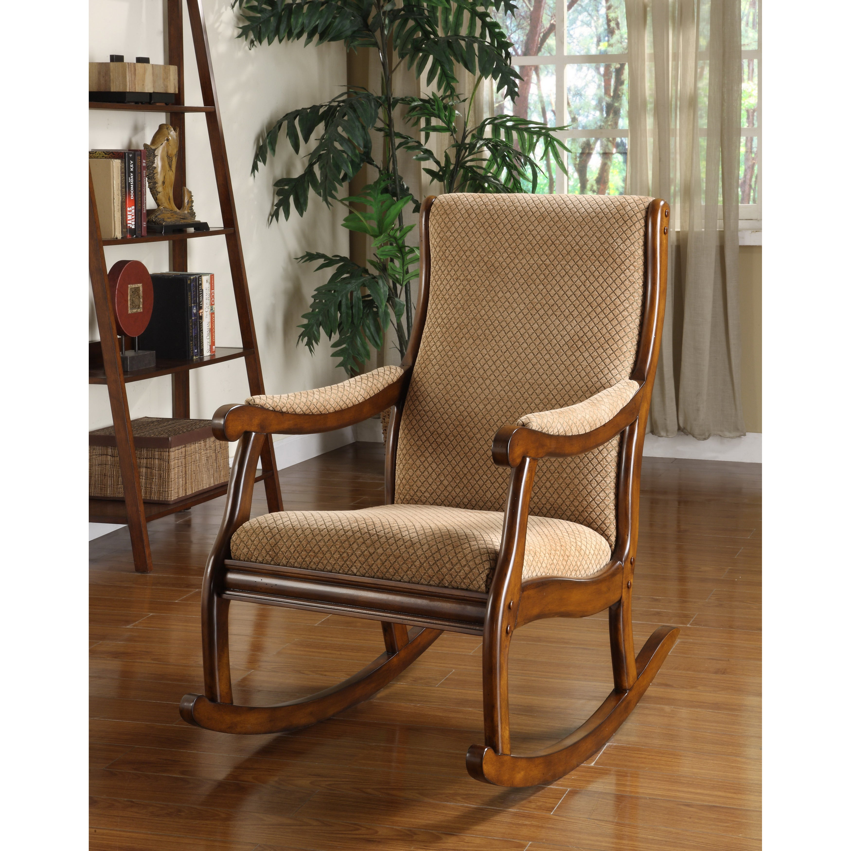 Antique Transitional Warm Oak Rocking Chairfoa Inside Beige Fabric And Cherry Wood Rocking Chairs (View 13 of 20)