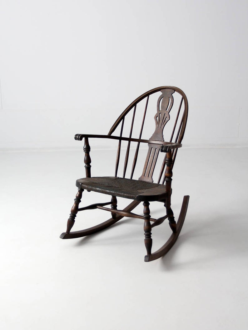 Antique Windsor Rocking Chair, Woven Seat Rocker For Black Back Windsor Rocking Chairs (#4 of 20)