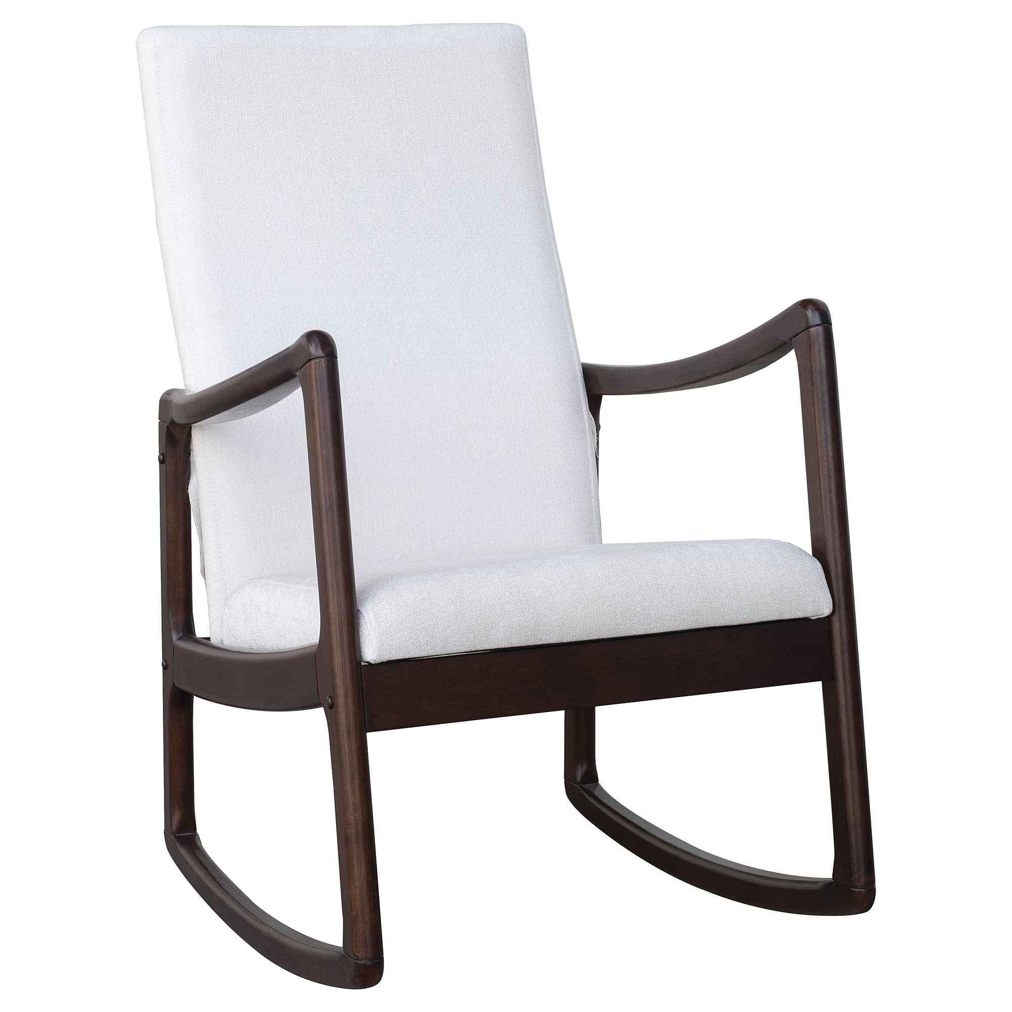 Aosom: Homcom Modern Wood Rocking Chair Indoor Porch Furniture For Living  Room  Coffee Brown/white With Cushion | Rakuten Inside Traditional Indoor Acacia Wood Rocking Chairs With Cushions (#1 of 20)