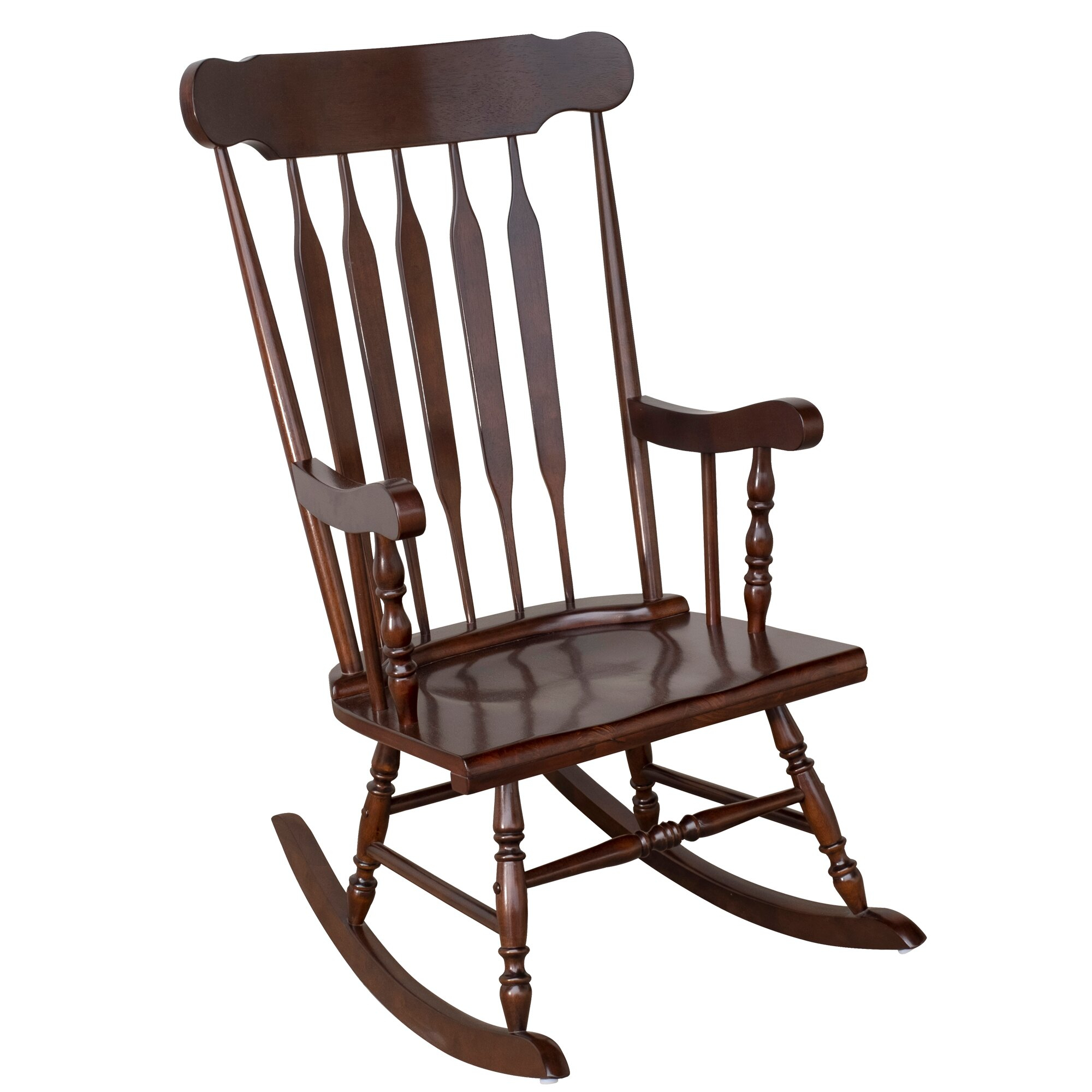 Aosom: Homcom Traditional Slat Wood Rocking Chair Indoor Porch Furniture  For Patio Living Room – Dark Brown | Rakuten Throughout Elegant Tobacco Brown Wooden Rocking Chairs (#2 of 20)
