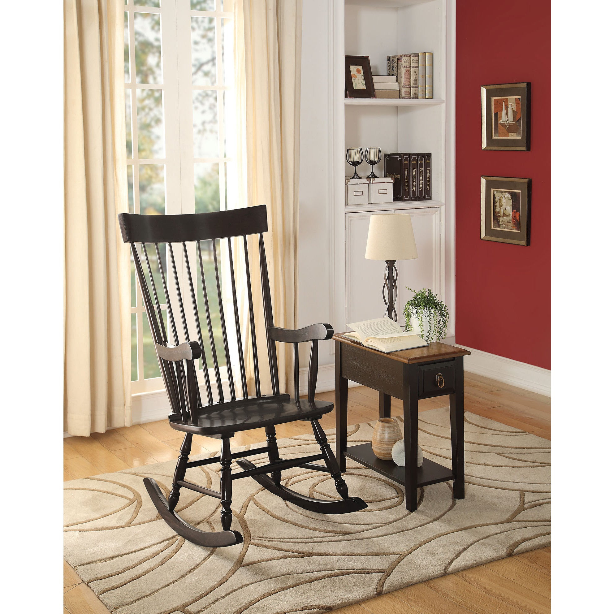 Arlo Black Wood Rocking Chair In Traditional Style Wooden Rocking Chairs With Contoured Seat, Black (#2 of 20)