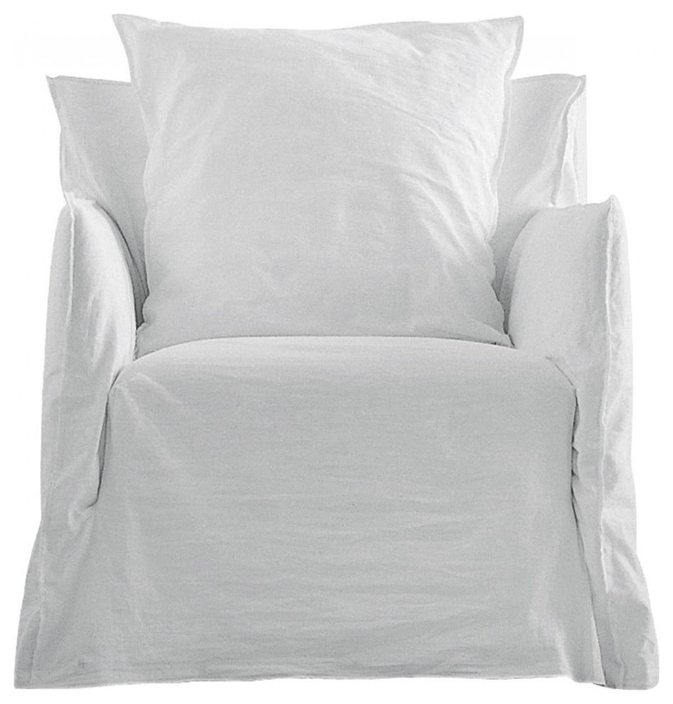 Armchair Ghost 5, White Linen Pertaining To Rocking Chairs In Linen Fabric With Medium Espresso Base (#2 of 20)