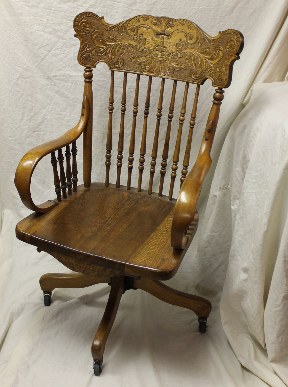Armed Office Chair With Old Man Winter Carved Face Inside Oak Carved Rocking Chairs Chairs (#10 of 20)