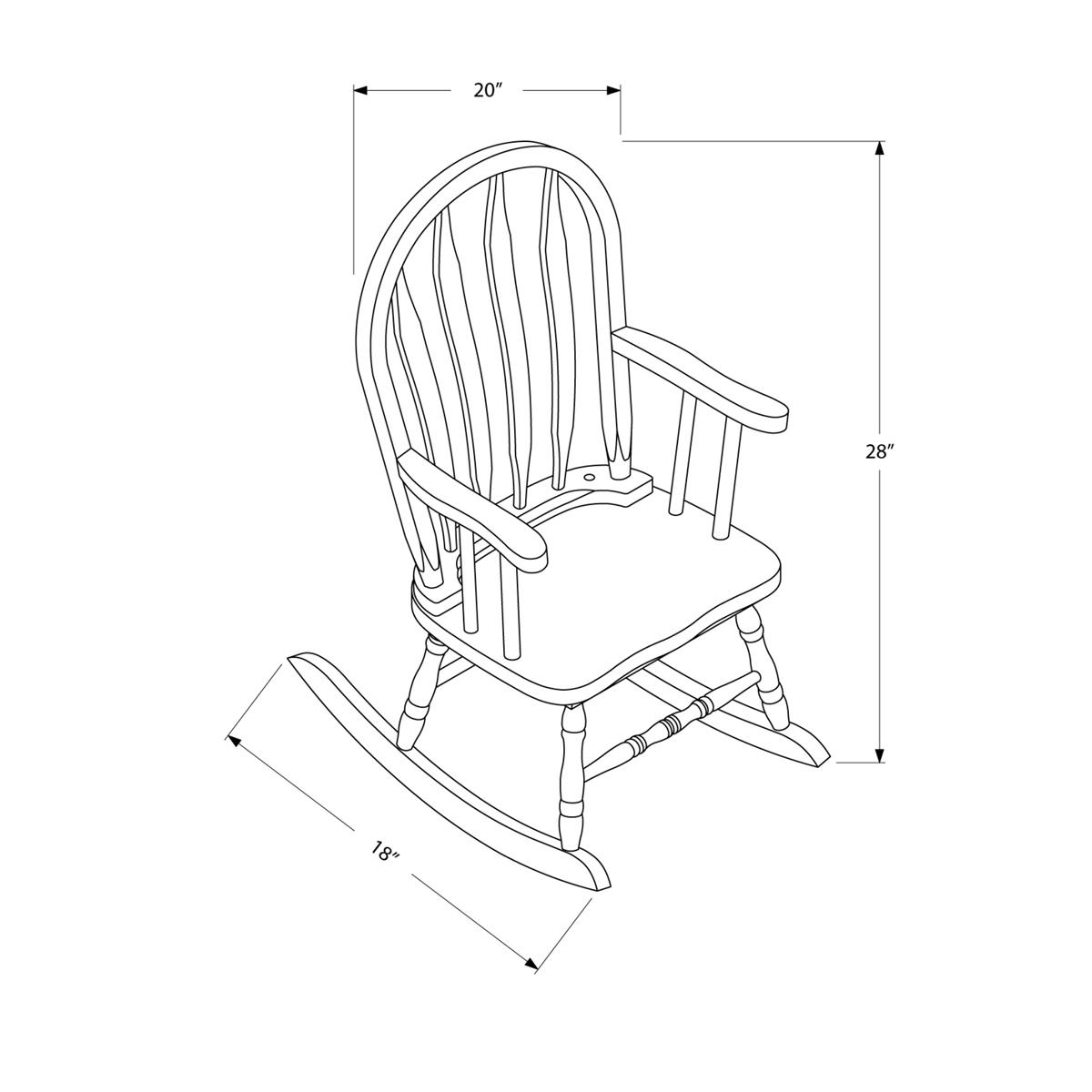 Arrow Back Juvenile Rocking Chair – Cappuccino Intended For Cappuccino Curved Rocking Chairs (#2 of 20)