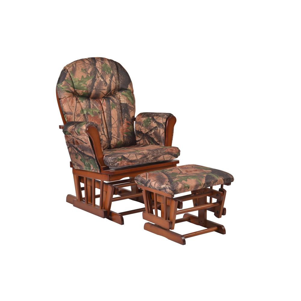Artiva Home Deluxe Camouflage Fabric Cushion Glider Chair Throughout Liverpool Classic Style Rocking Chairs In Antique Oak Finish (#6 of 20)