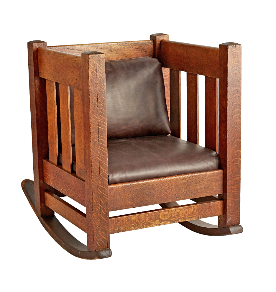Arts & Crafts Oak Cube Rocking Chair W/ Leather Upholstery Regarding Mission Design Wood Rocking Chairs With Brown Leather Seat (#3 of 20)