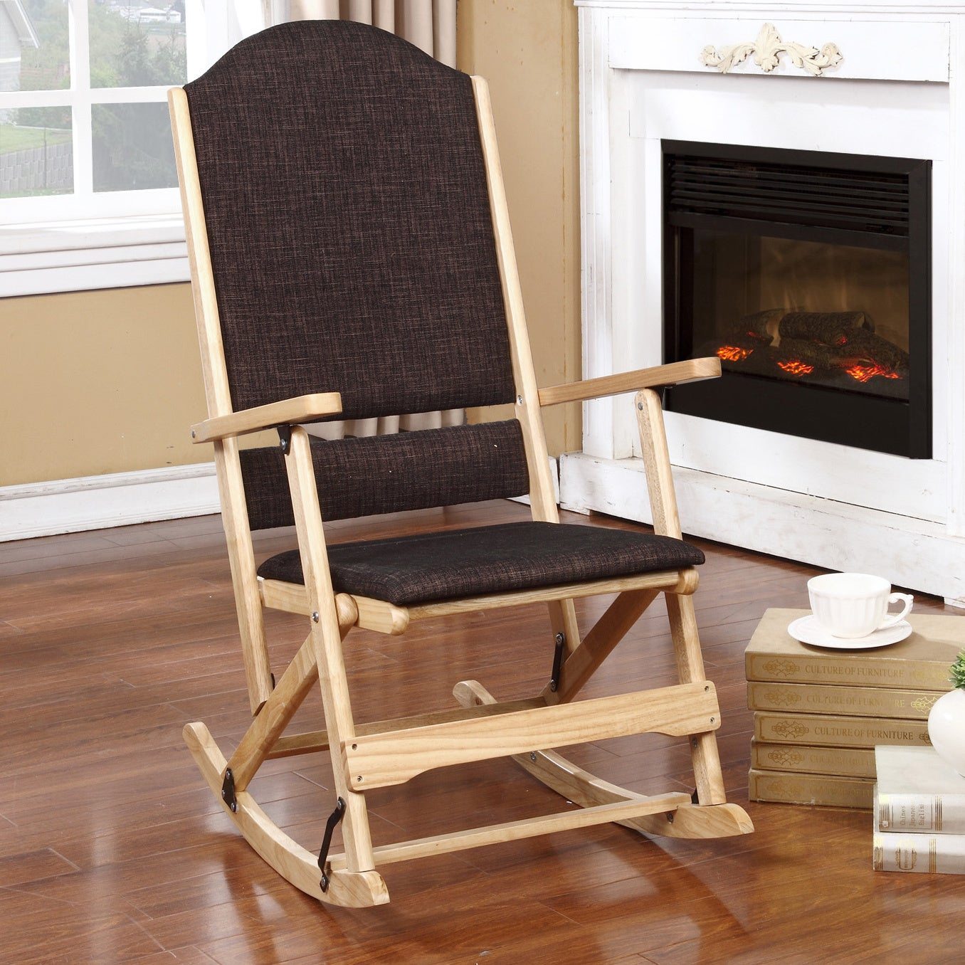 Aspen Natural Brown Wood Folding Rocking Chair Intended For Folding Bentwood Rocking Chairs With Extendable Footrest And Removable Cover (#1 of 20)