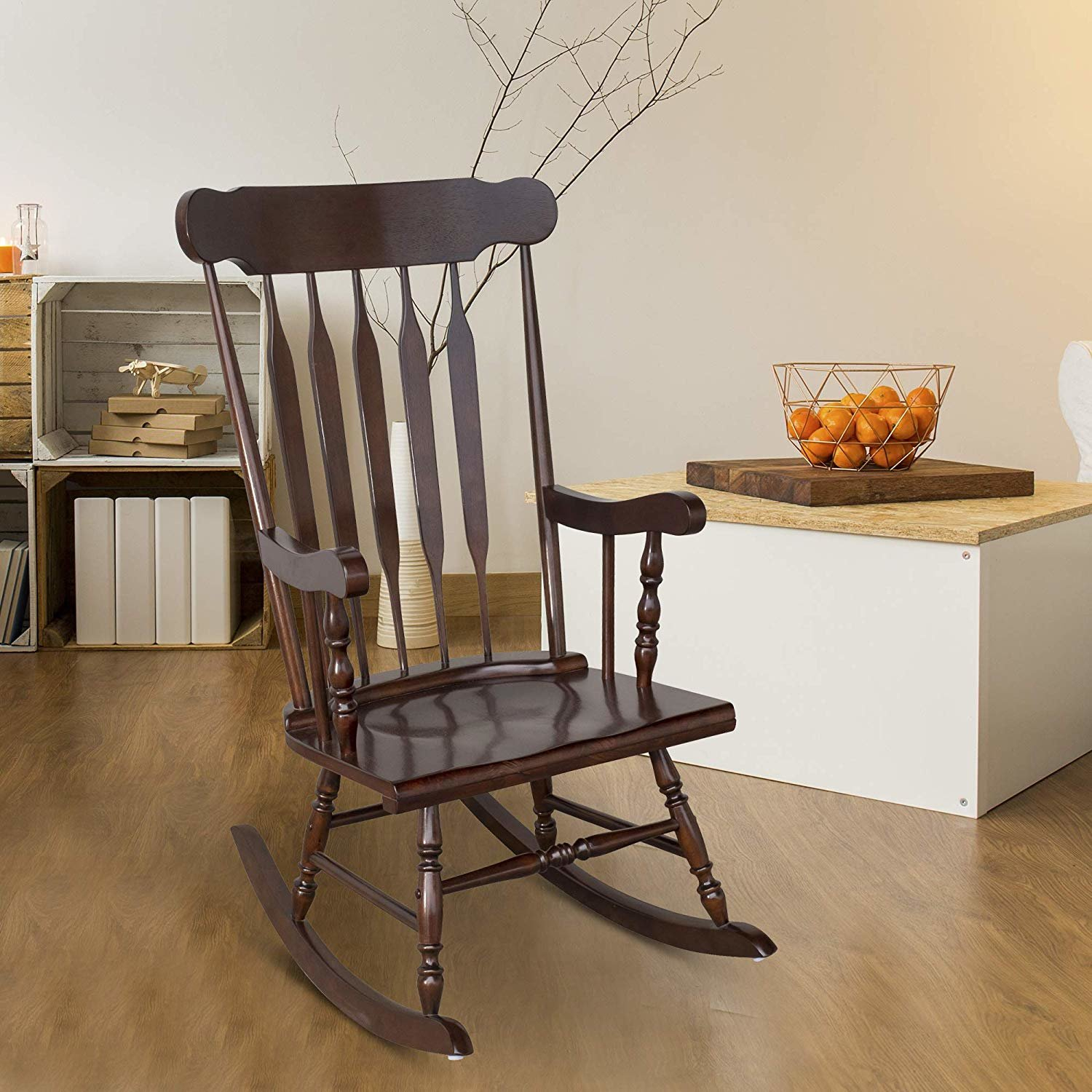 August Grove Leominster Rocking Chair | Wayfair For Tobacco Brown Kids Rocking Chairs (View 12 of 20)