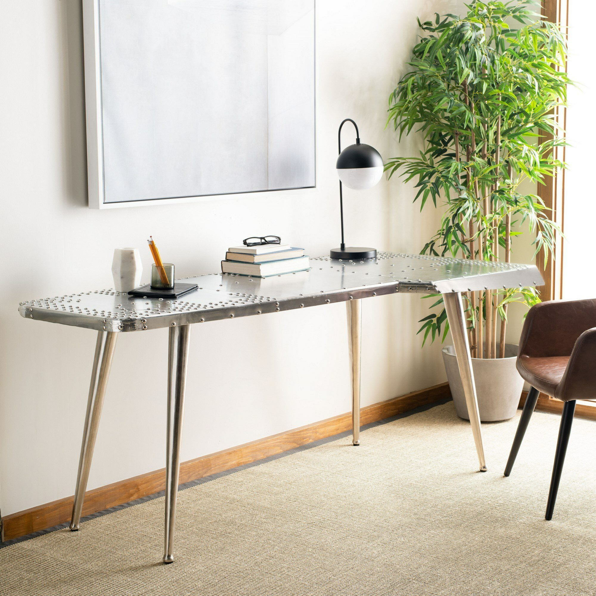 Aviator Wing Desk You'll Love In 2019   Wayfair Throughout Carbon Loft Ariel Rocking Chairs In Burgundy Pu And Walnut (#6 of 20)