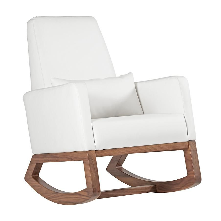 Baby Rocking Chair: White Leather | The Land Of Nod | Boy's Pertaining To Rocking Chairs In Linen Fabric With Medium Espresso Base (#3 of 20)