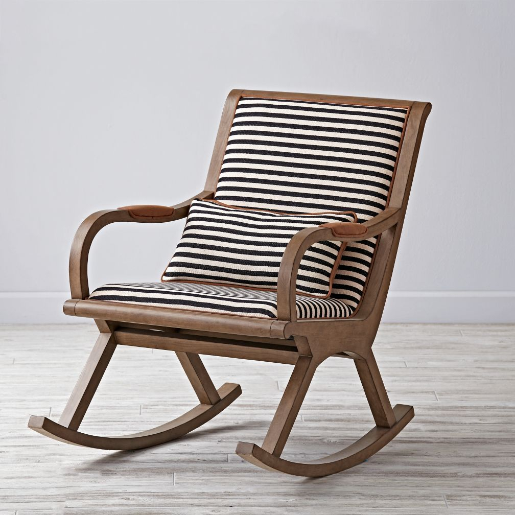 Bakersfield Rocking Chair | Mid Century Bungalow | Rocking Inside Wooden Rocking Chairs With Fabric Upholstered Cushions, White (View 3 of 20)
