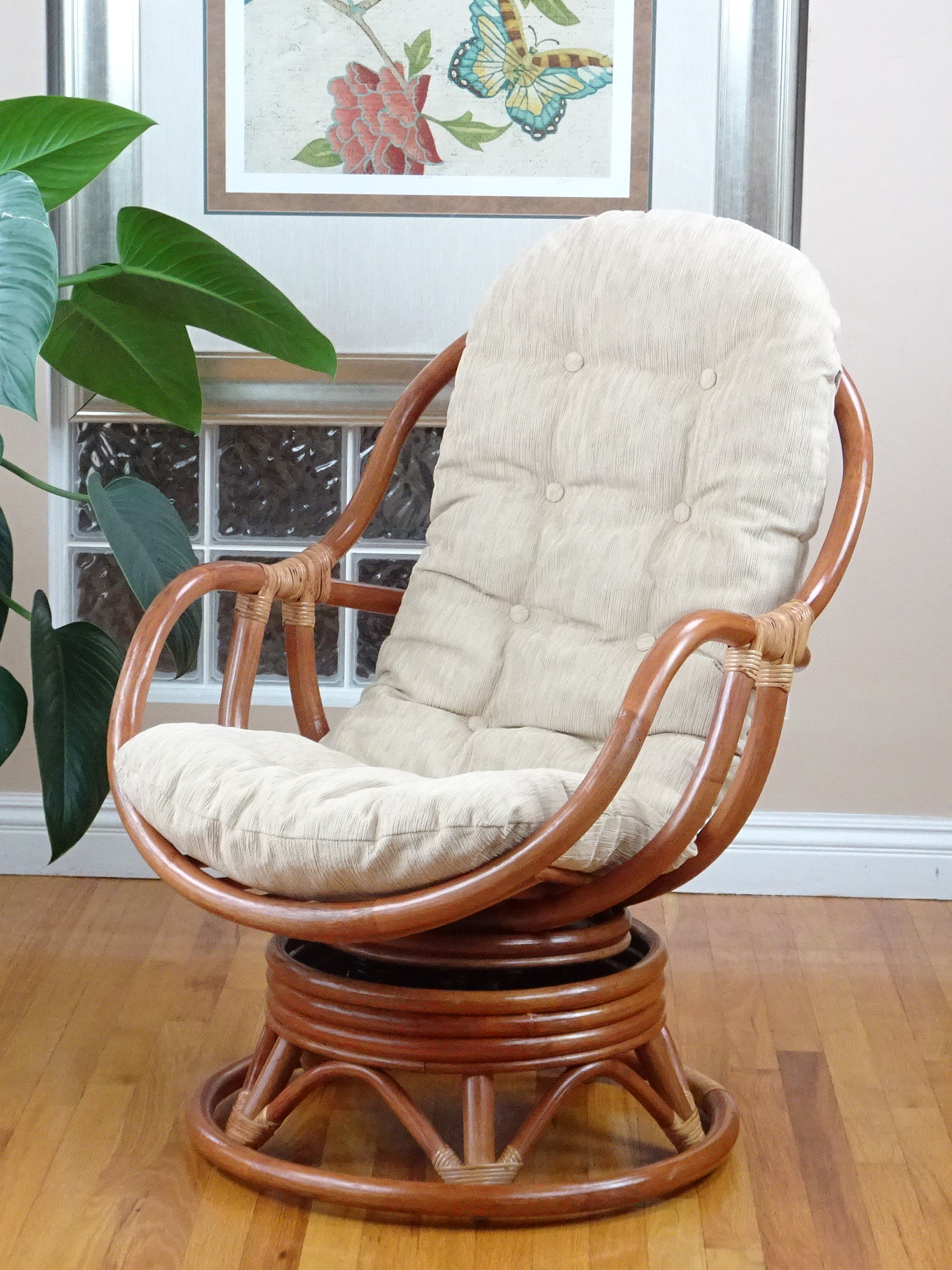 Bali Chair With Cream Cushion With Regard To Rocking Chairs, Cream And Brown (#2 of 20)