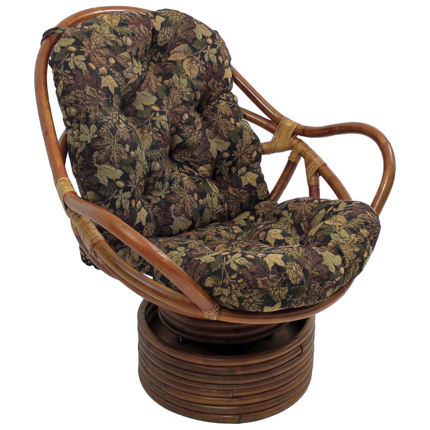Bali Rattan Swivel Rocker Chair – Tufted, Tapestry Cushion For Bali Brown Rocking Chairs (View 8 of 20)