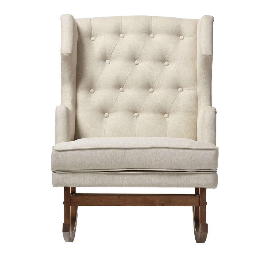 Baxton Studio Iona Mid Century Beige Fabric Upholstered Throughout Mid Century Fabric Rocking Chairs (View 1 of 20)