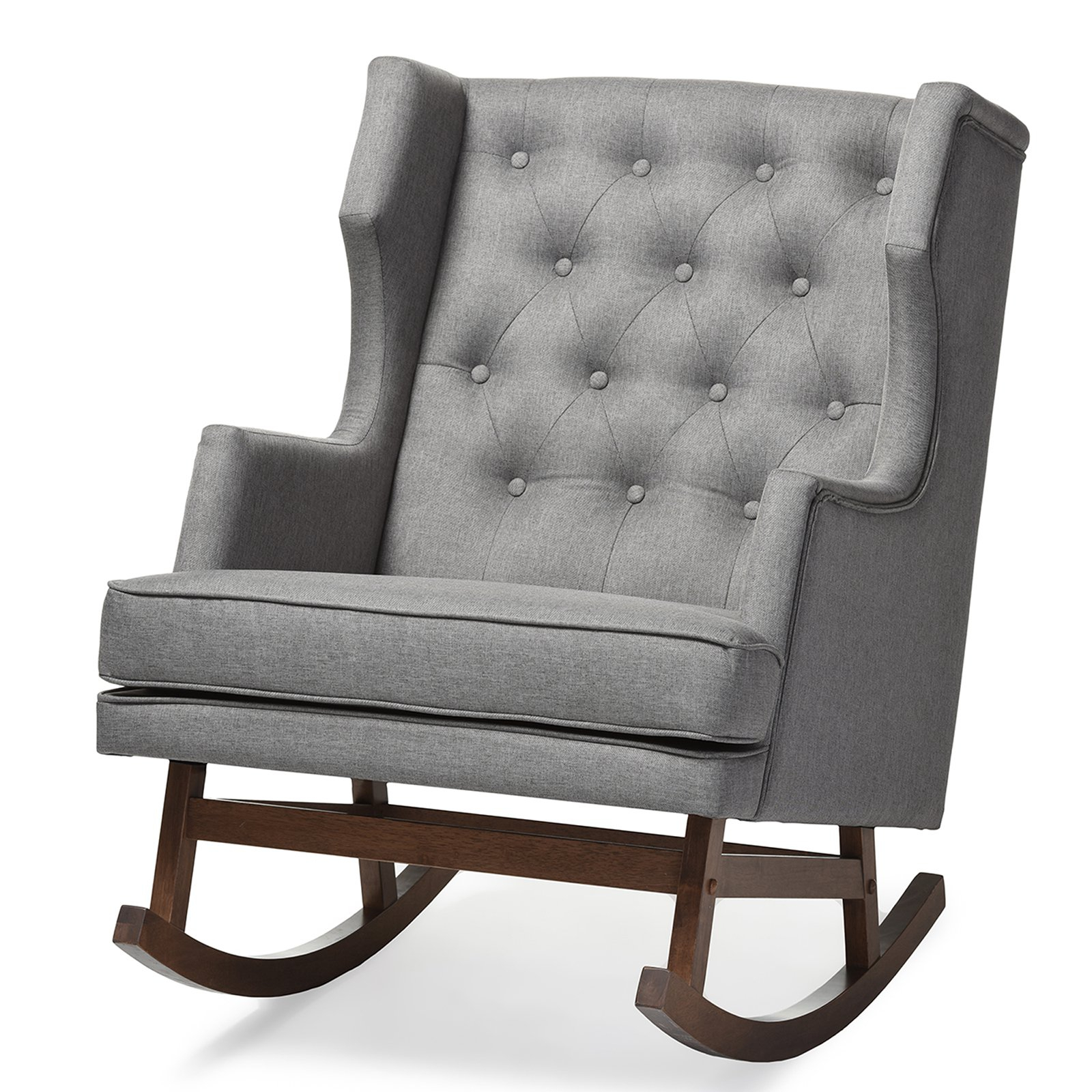 Baxton Studio Iona Mid Century Retro Modern Upholstered Button Tufted Wingback Rocking Chair, Multiple Colors With Regard To Mid Century Modern Fabric Rocking Chairs (View 14 of 20)