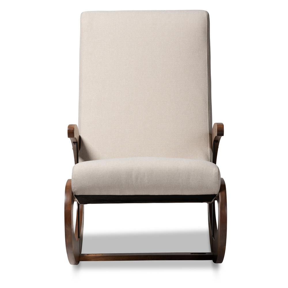 Baxton Studio Kaira Light Beige And Walnut Fabric Rocking Regarding Harvey Mid Century Modern Fabric Rocking Chairs (View 17 of 20)