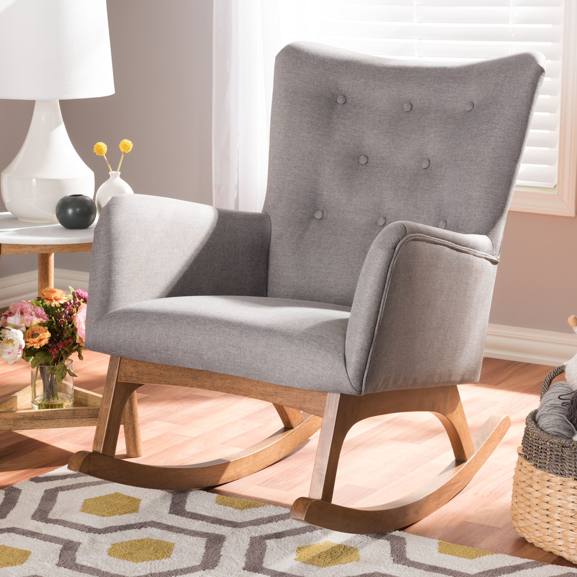 """Baxton Studio Waldmann Mid Century Modern Grey Fabric Upholstered Rocking Chair, Grey, 1, Mid Century, Medium Wood, Fabric """"polyester 100%""""/rubber With Regard To Beige Fabric And Cherry Wood Rocking Chairs (View 16 of 20)"""