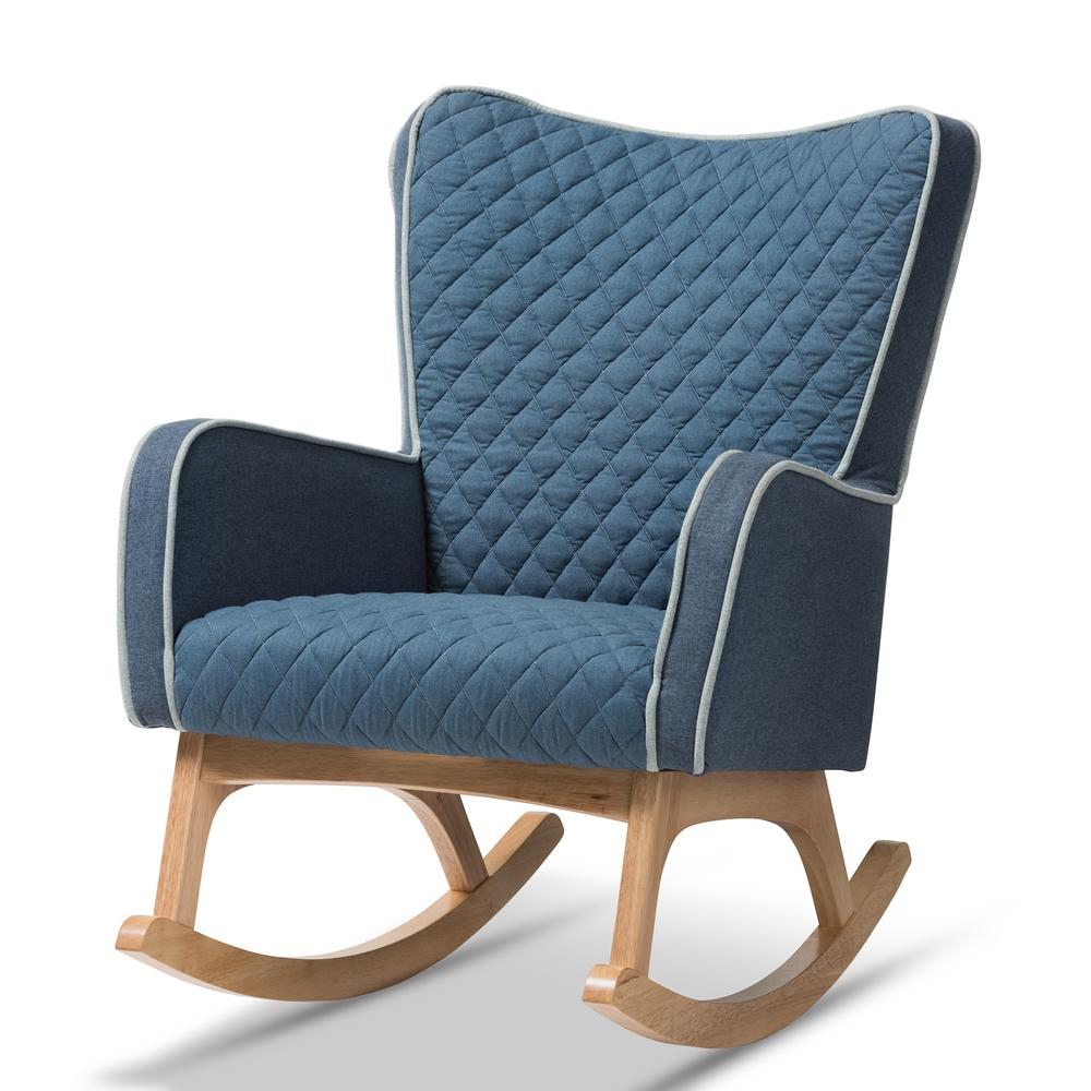 Baxton Studio Zoelle Blue Fabric Rocking Chair 143 7927 Hd Throughout Harvey Mid Century Modern Fabric Rocking Chairs (View 15 of 20)