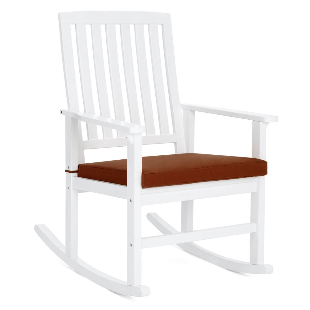 Bcp Wood Rocking Chair For Indoor, Outdoor W/ Cushion, Sloped Seat, Curved  Back 842957114382   Ebay For Cappuccino Curved Rocking Chairs (#3 of 20)