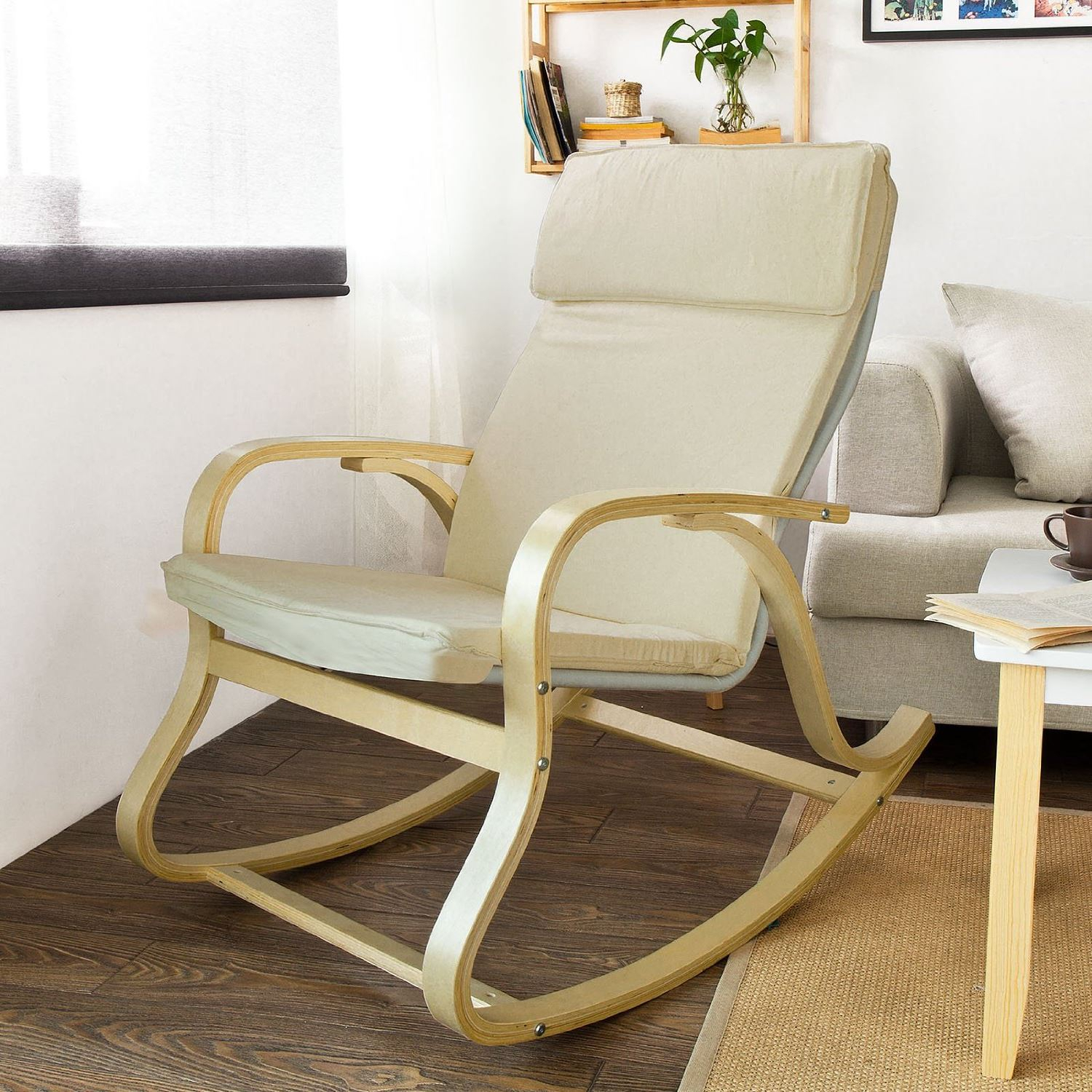 Bedroom: Enjoying Rocking Chair Furniture Completed With For Wooden Rocking Chairs With Fabric Upholstered Cushions, White (View 4 of 20)