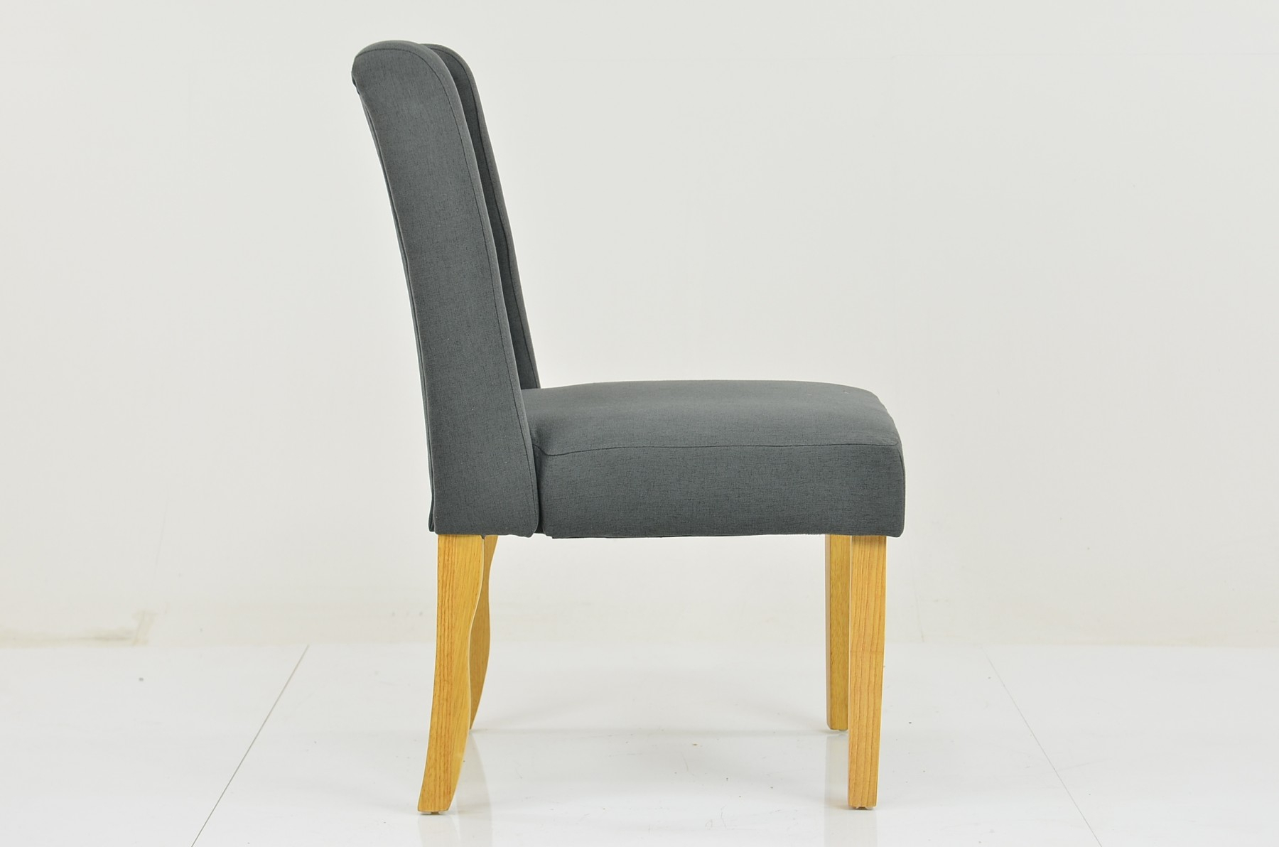 Belgrade Dining Chair Dark Grey Fabric Intended For Rocking Chairs In Linen Fabric With Brushed Finish Base (#2 of 20)