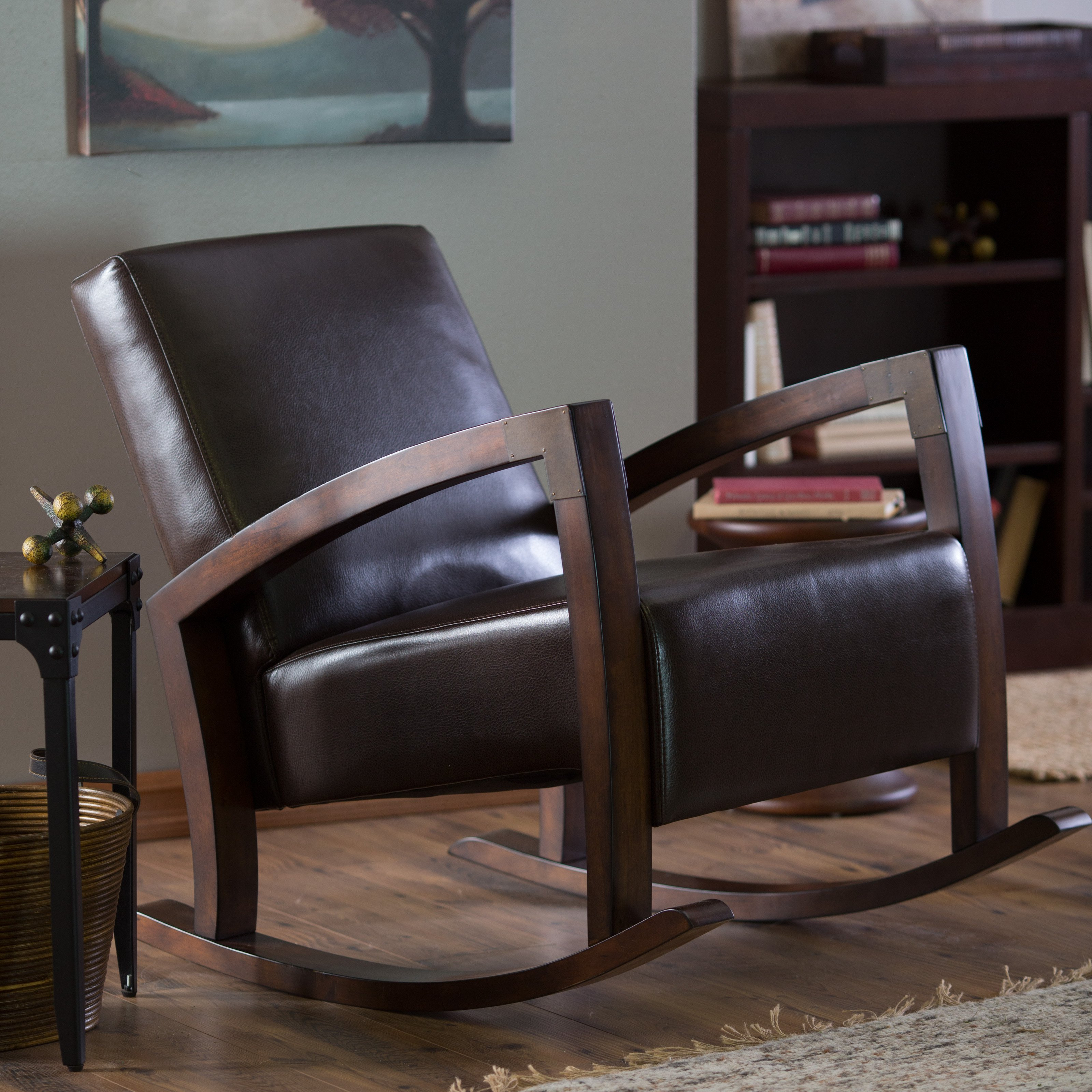 Belham Living Frederick Mission Rocking Chair With Regard To Mission Design Wood Rocking Chairs With Brown Leather Seat (#4 of 20)