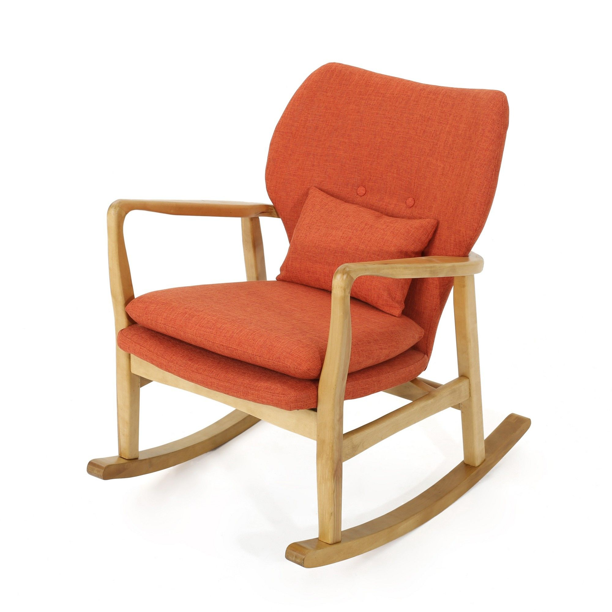 Benny Mid Century Modern Rocking Chair Muted Orange Throughout Mid Century Birch Rocking Chairs (#2 of 20)