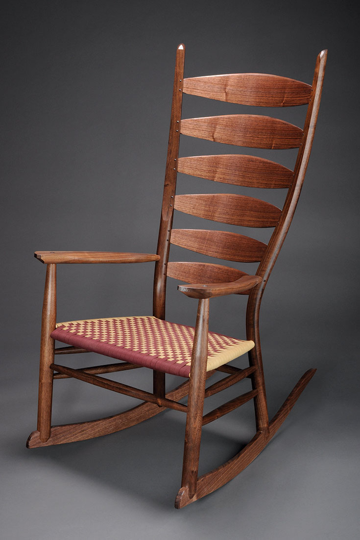 Berea Ladderback Classic Rocking Chair – Brian Boggs For Dark Walnut Brown Wooden Rocking Chairs (#2 of 20)