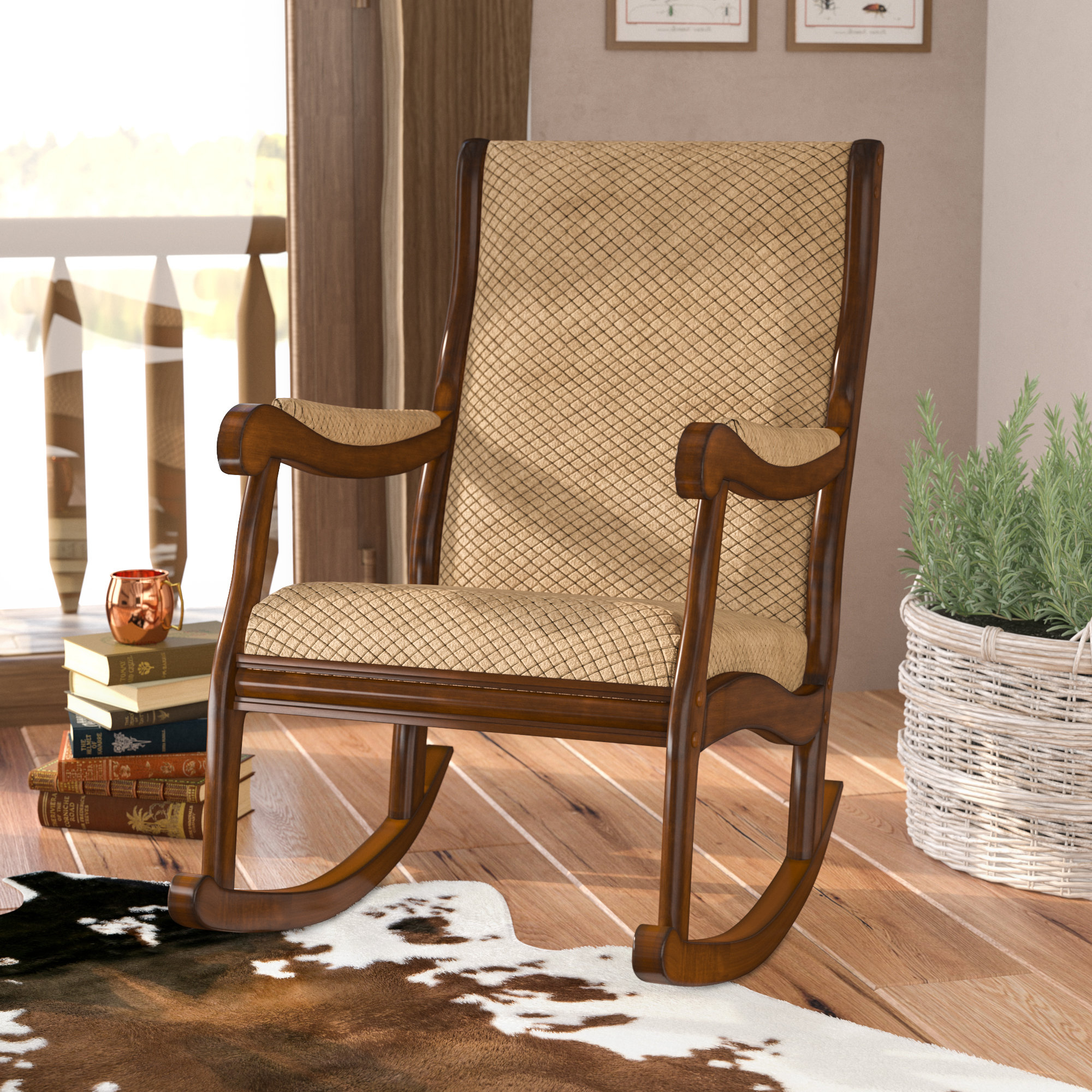 Berg Rocking Chair Throughout Faux Leather Upholstered Wooden Rocking Chairs With Looped Arms, Brown And Red (#1 of 20)