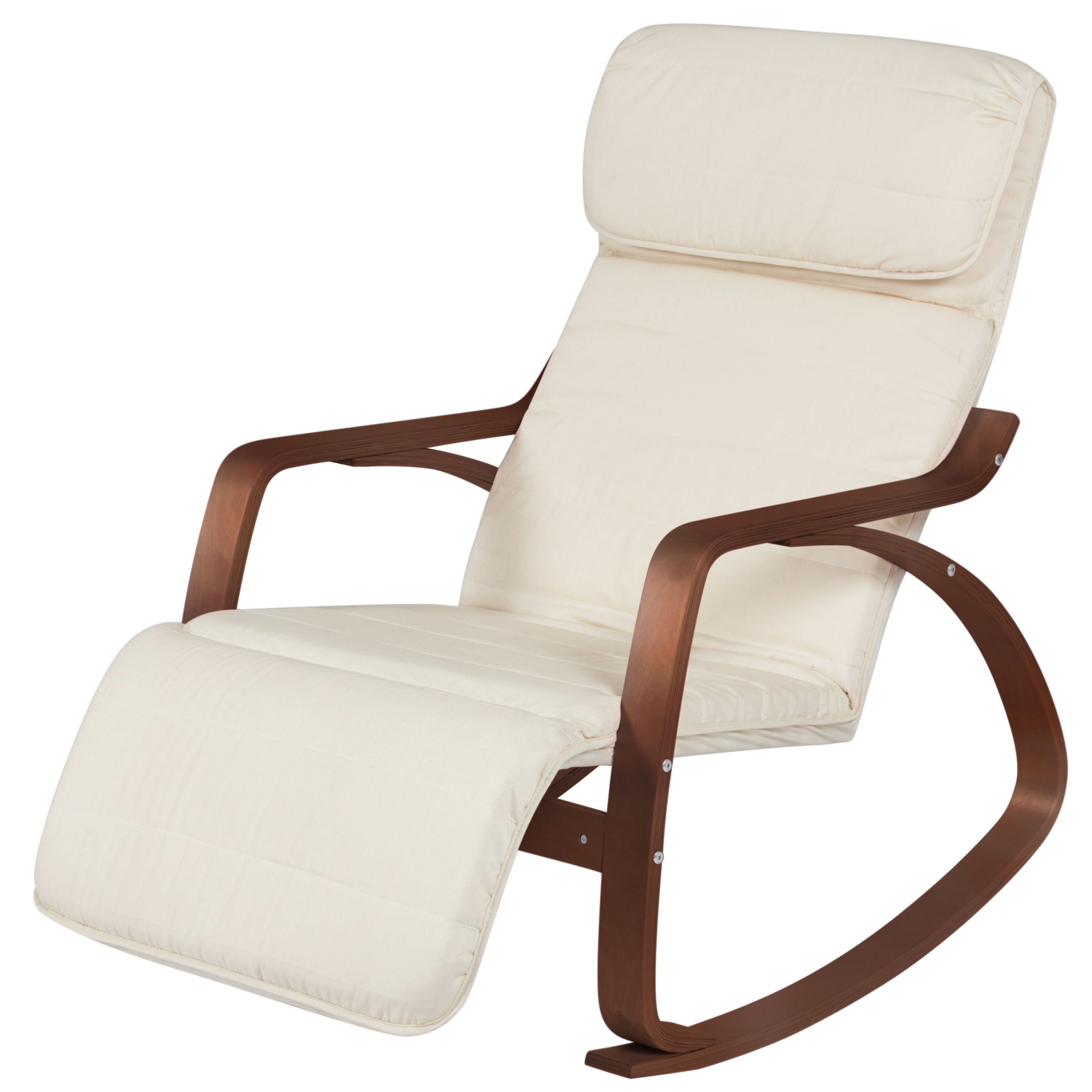 Best Choice Products Cushioned Birch Bentwood Rocking Chair W/ Adjustable  Leg Rest – White/espresso For Folding Bentwood Rocking Chairs With Extendable Footrest And Removable Cover (#2 of 20)