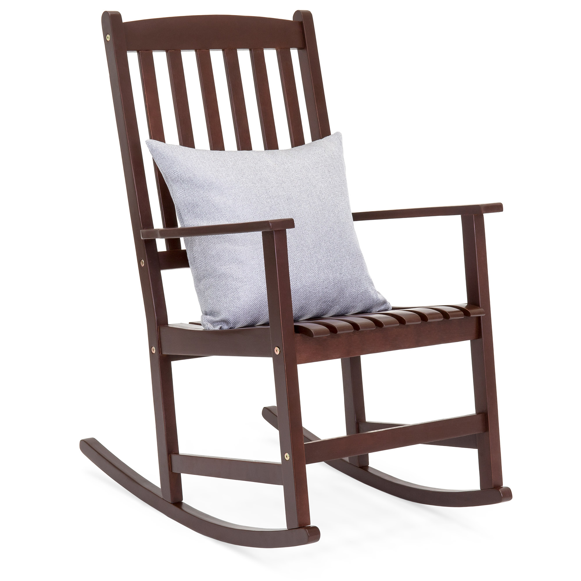 Best Choice Products Indoor Outdoor Traditional Slat Wood Rocking Chair  Furniture For Patio, Porch, Living Room – Brown With Regard To Indoor / Outdoor Porch Slat Rocking Chairs (#4 of 20)