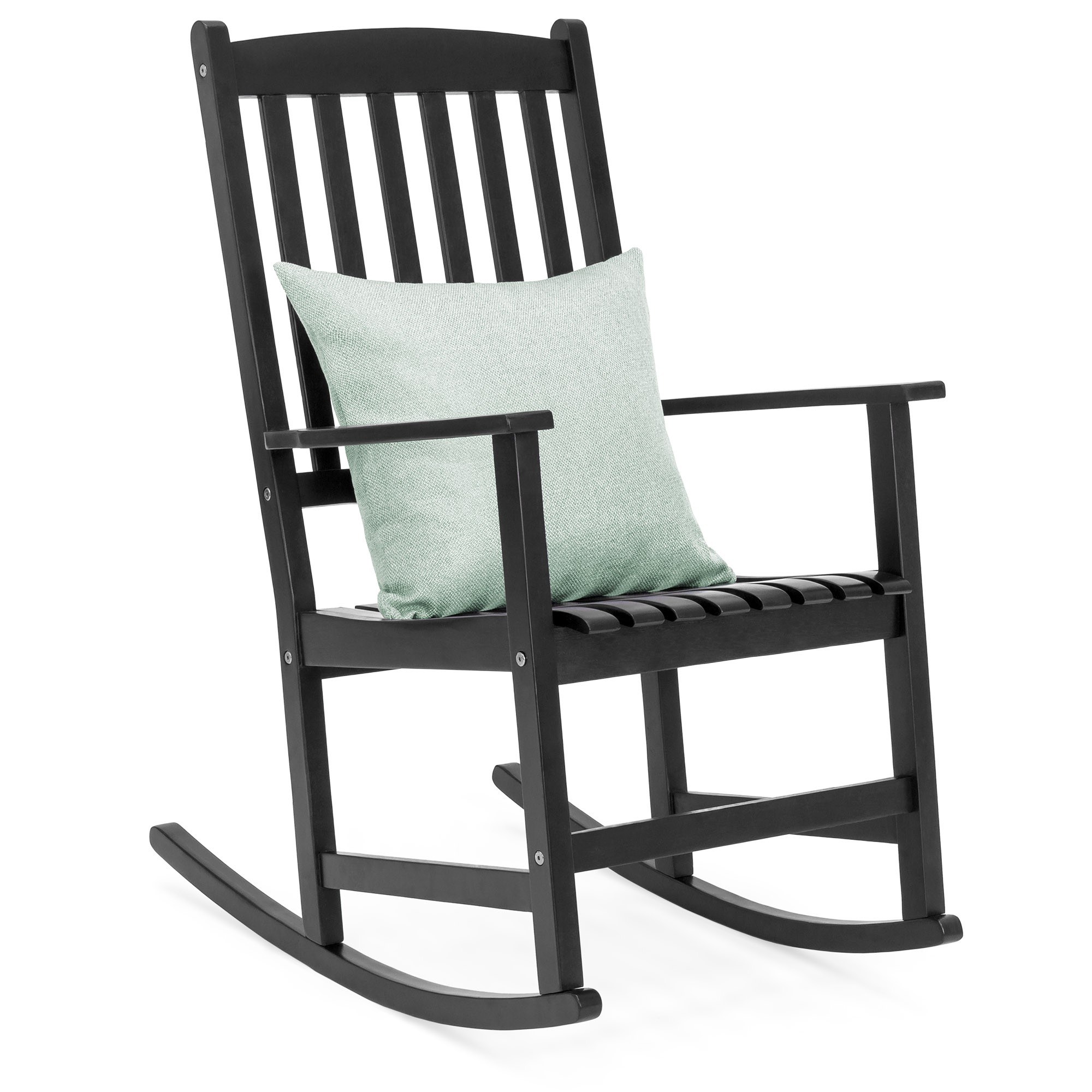 Best Choice Products Indoor Outdoor Traditional Wooden Rocking Chair  Furniture W/ Slatted Seat And Backrest For Patio, Porch, Living Room, Home Regarding Traditional Style Wooden Rocking Chairs With Contoured Seat, Black (#3 of 20)