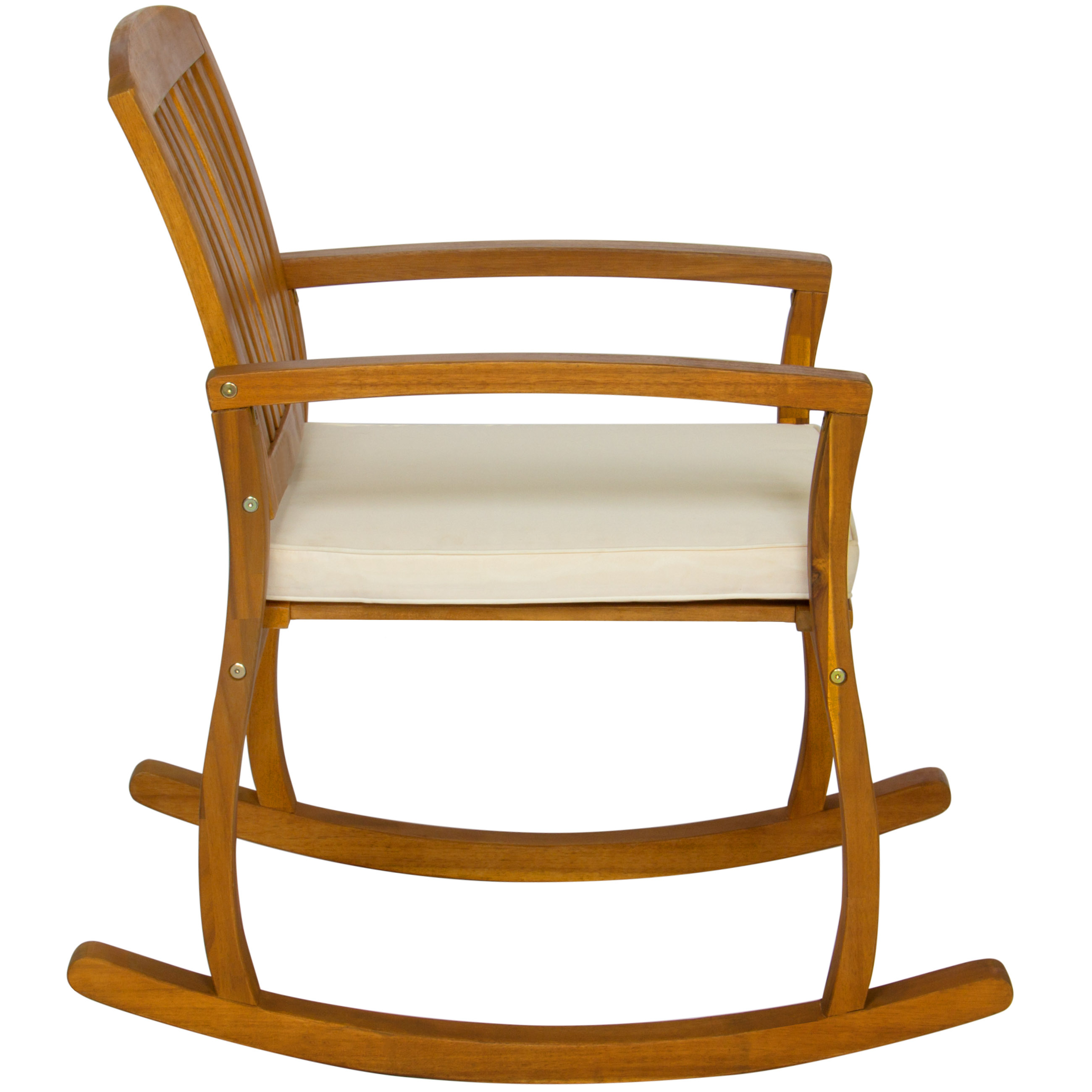 Best Choice Products Outdoor Patio Acacia Wood Rocking Chair W/ Removable  Seat Cushion In Traditional Indoor Acacia Wood Rocking Chairs With Cushions (#3 of 20)
