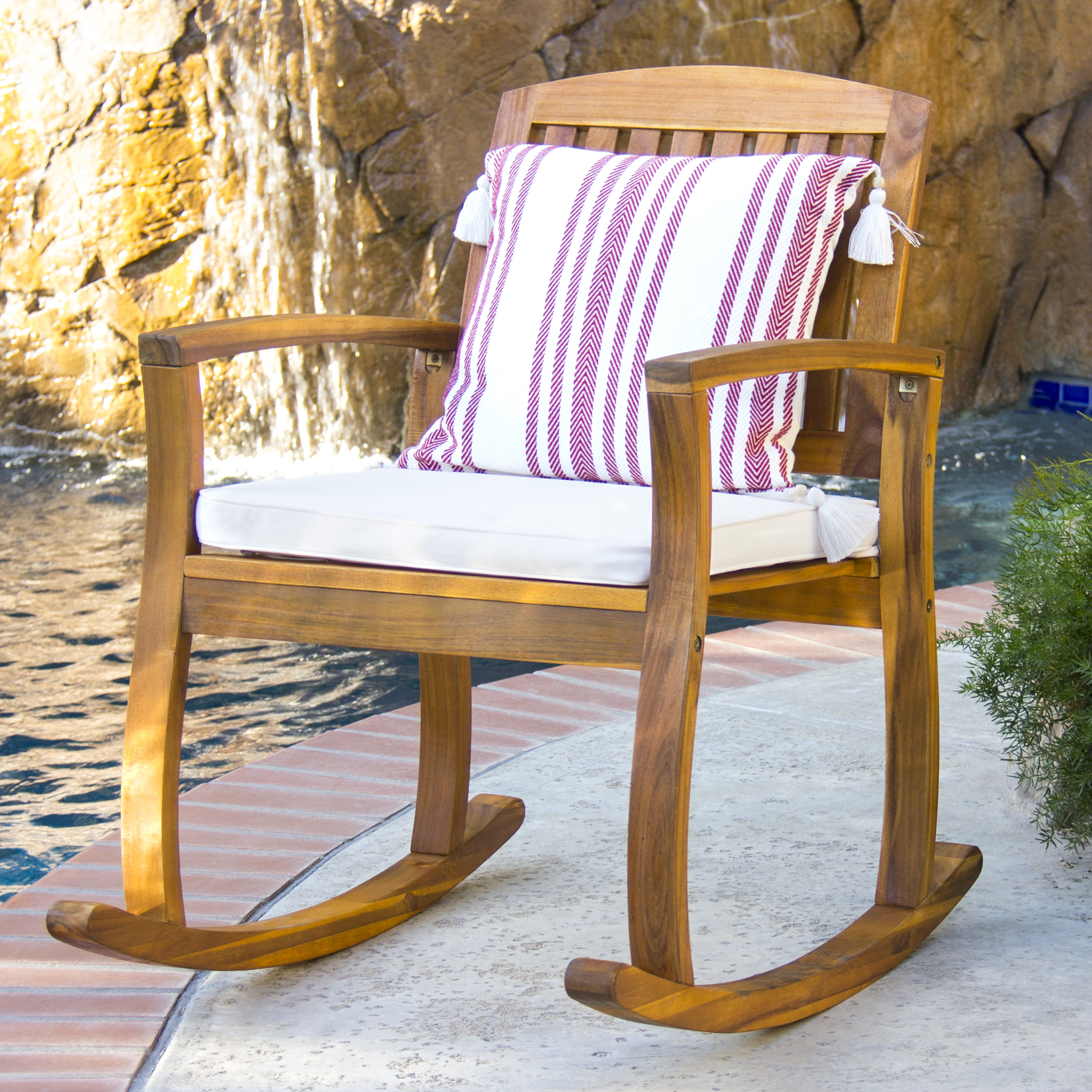 Best Choice Products Outdoor Patio Acacia Wood Rocking Chair W/ Removable  Seat Cushion Inside Traditional Indoor Acacia Wood Rocking Chairs With Cushions (#4 of 20)