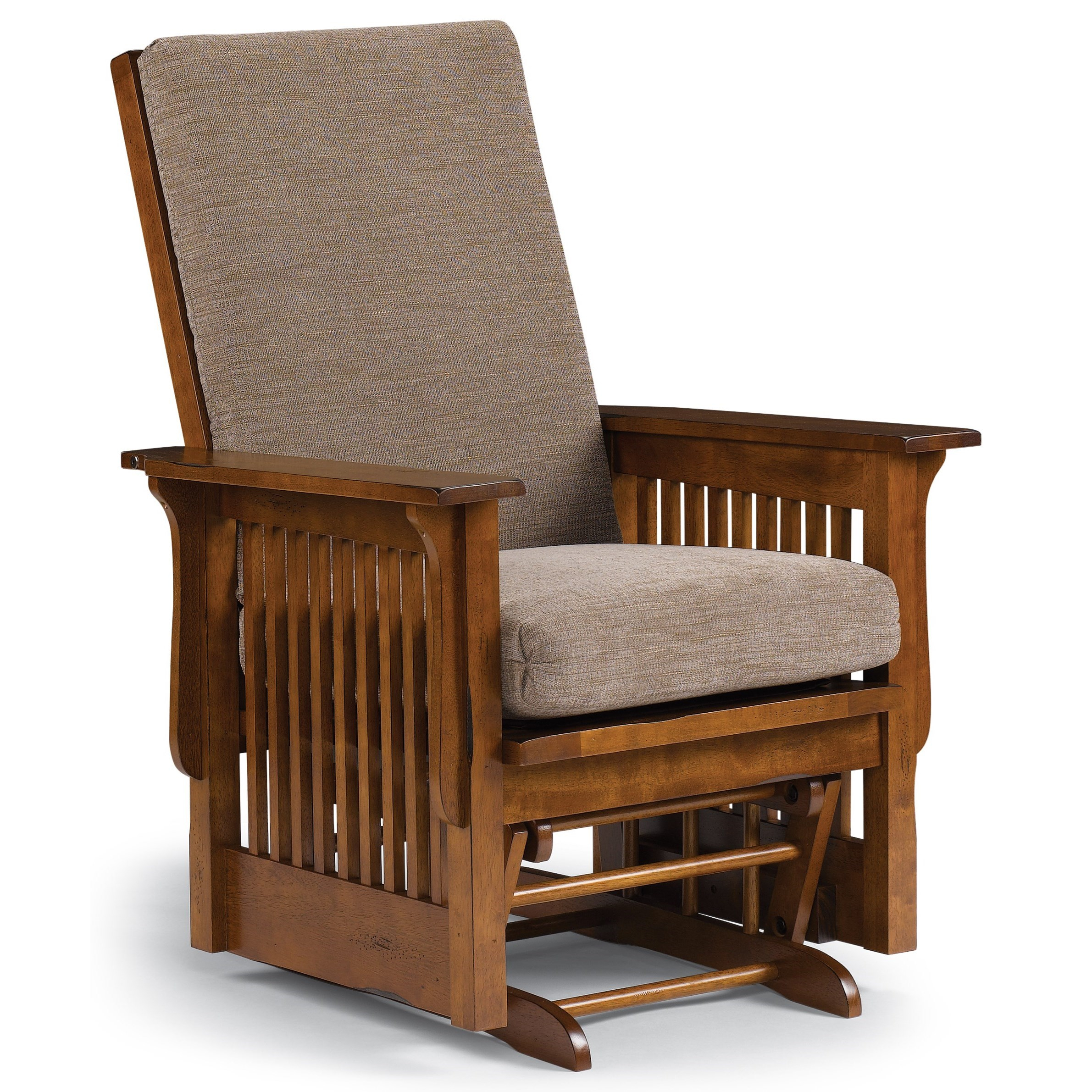 Best Home Furnishings Glide Rocker And Ottomans C8117Dp Inside Mission Design Wood Rocking Chairs With Brown Leather Seat (#5 of 20)