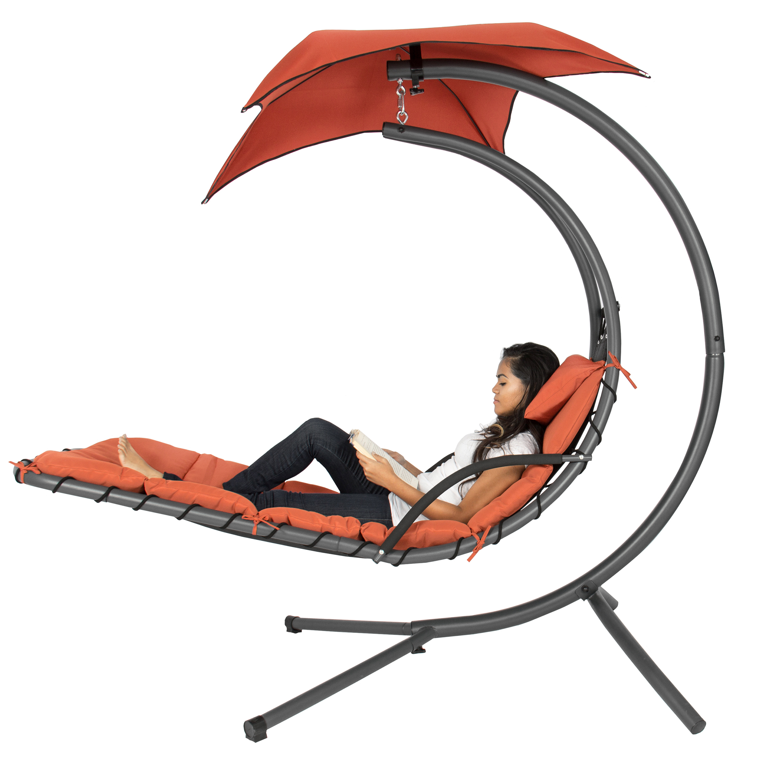 Bestchoiceproducts: Best Choice Products Hanging Curved Chaise Lounge Chair  Swing For Backyard, Patio W/ Pillow, Canopy, Stand – Orange | Rakuten Inside Orange Rocking Chairs Lounge Chairs (View 4 of 20)