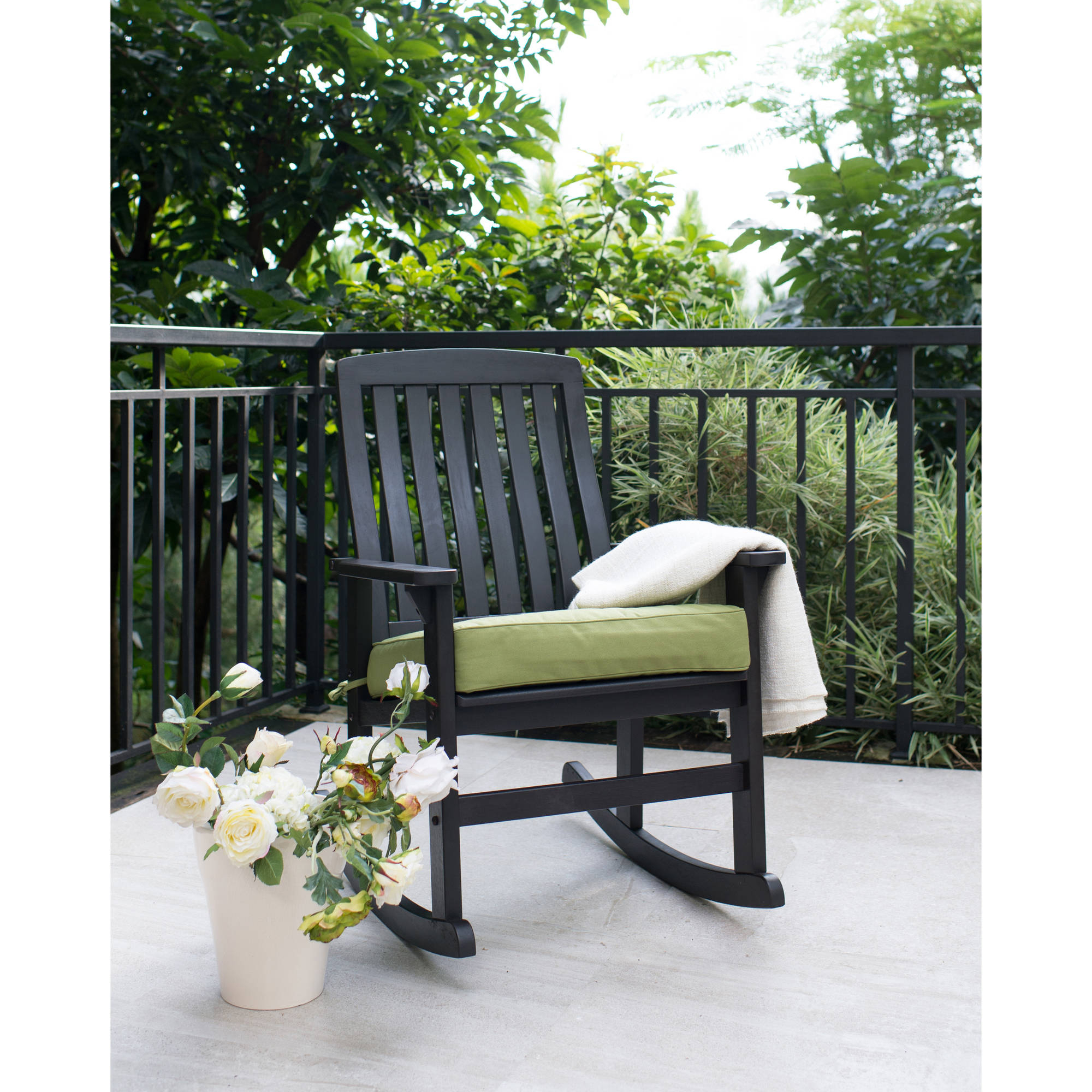 Better Homes & Gardens Delahey Wood Porch Rocking Chair In Wooden Rocking Chairs With Fabric Upholstered Cushions, White (View 5 of 20)