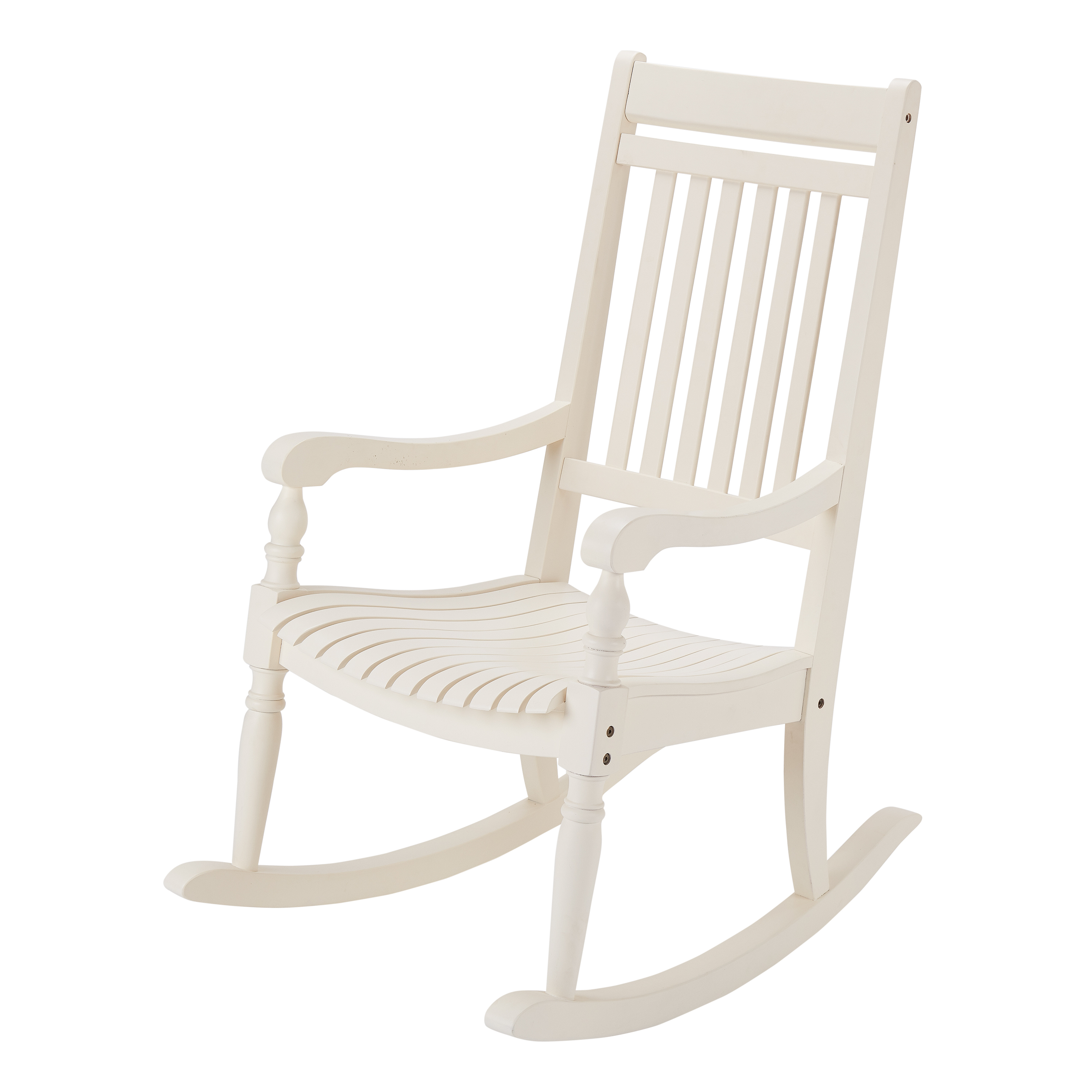 Better Homes & Gardens Ridgely Slat Back Mahogany Rocking Chair, White Throughout Rocking Chairs In Cream Fabric And White (#5 of 20)
