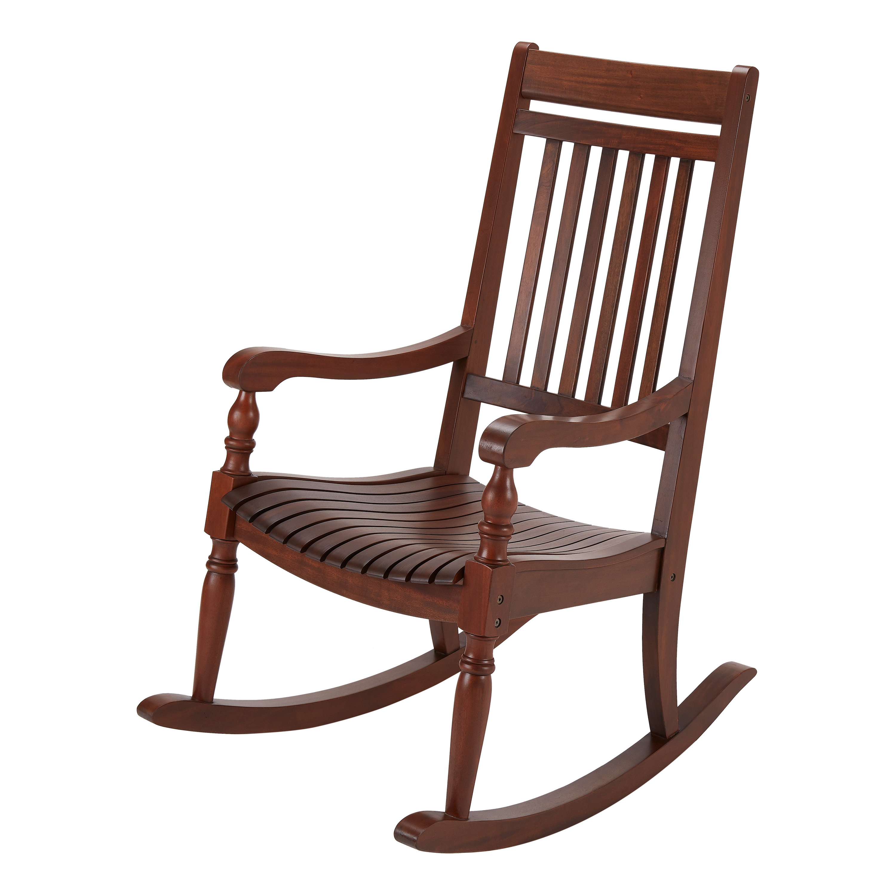 Better Homes & Gardens Ridgely Slat Back Mahogany Rocking Throughout Natural Brown Wood Folding Rocking Chairs (#5 of 20)